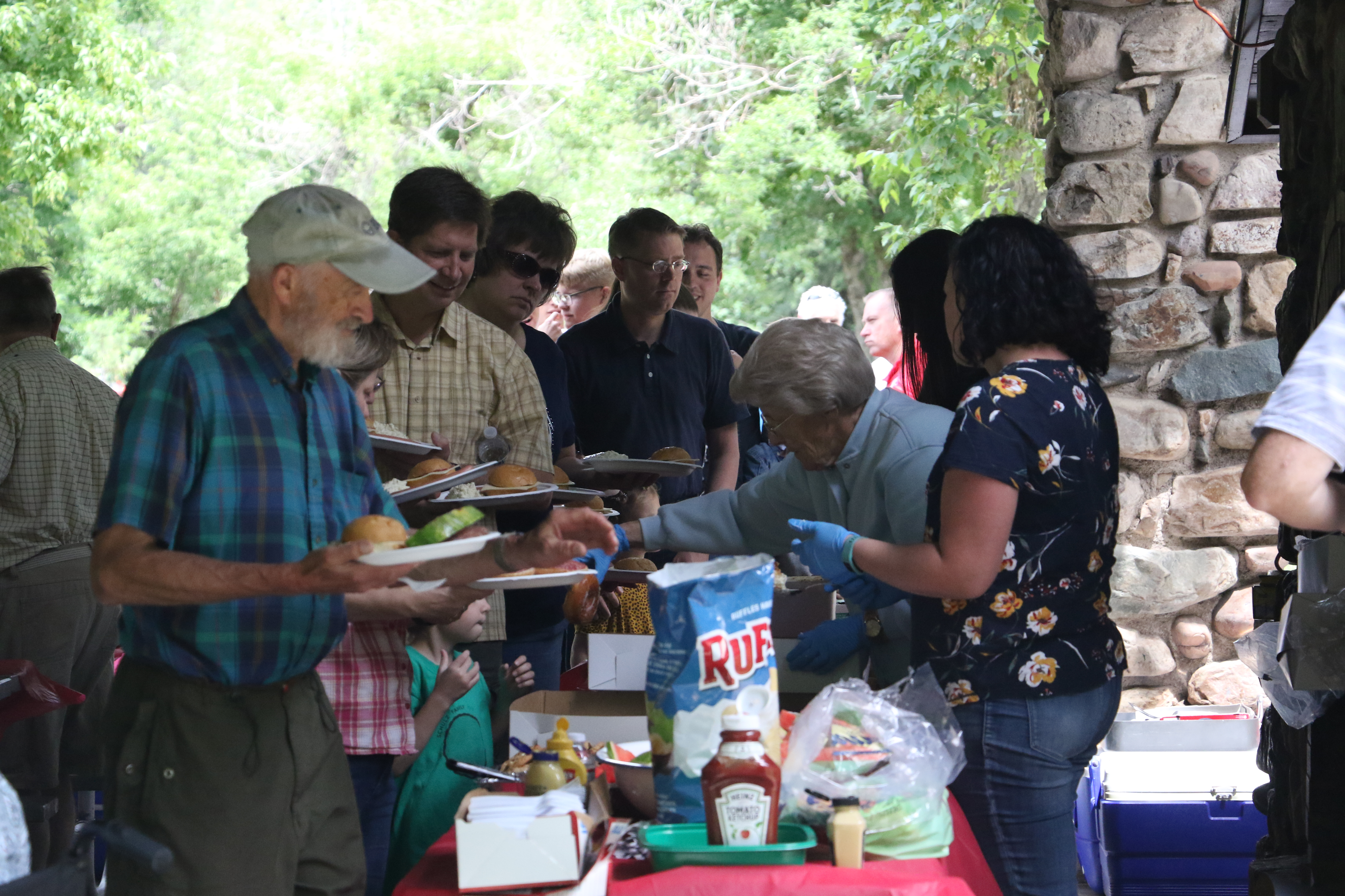 Members of the German Speaking Ward join family and friends at the ward's annual ward picnic at Washington Terrace Park in Parley's Canyon, Utah, on July 13, 2019.