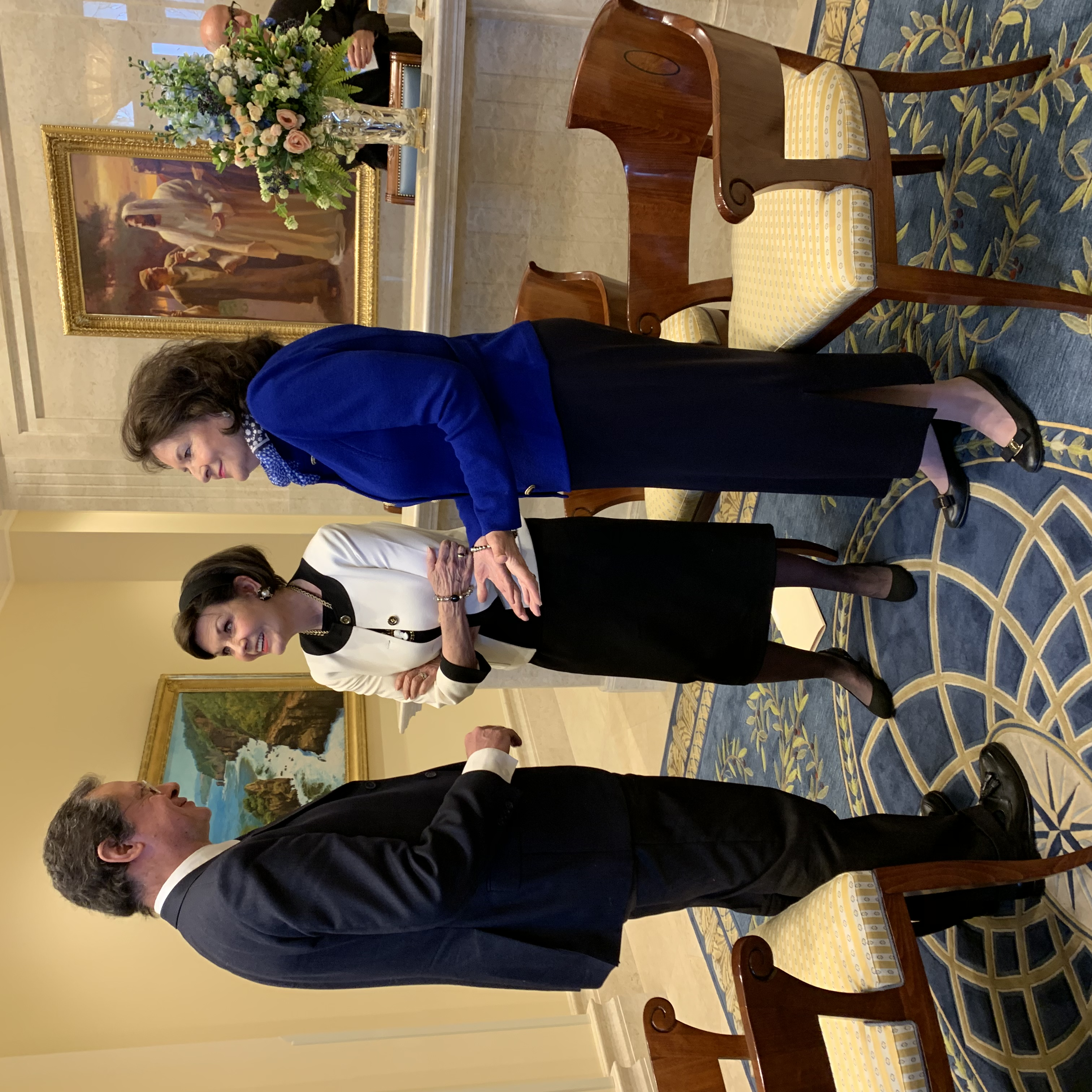 Sister Wendy Nelson, right, and Sister Kristen Oaks meet with Paolo Mastrolilli, the New York correspondent for the national Italian newspaper La Stampa, in the lobby of the Rome Italy Temple on March 11.