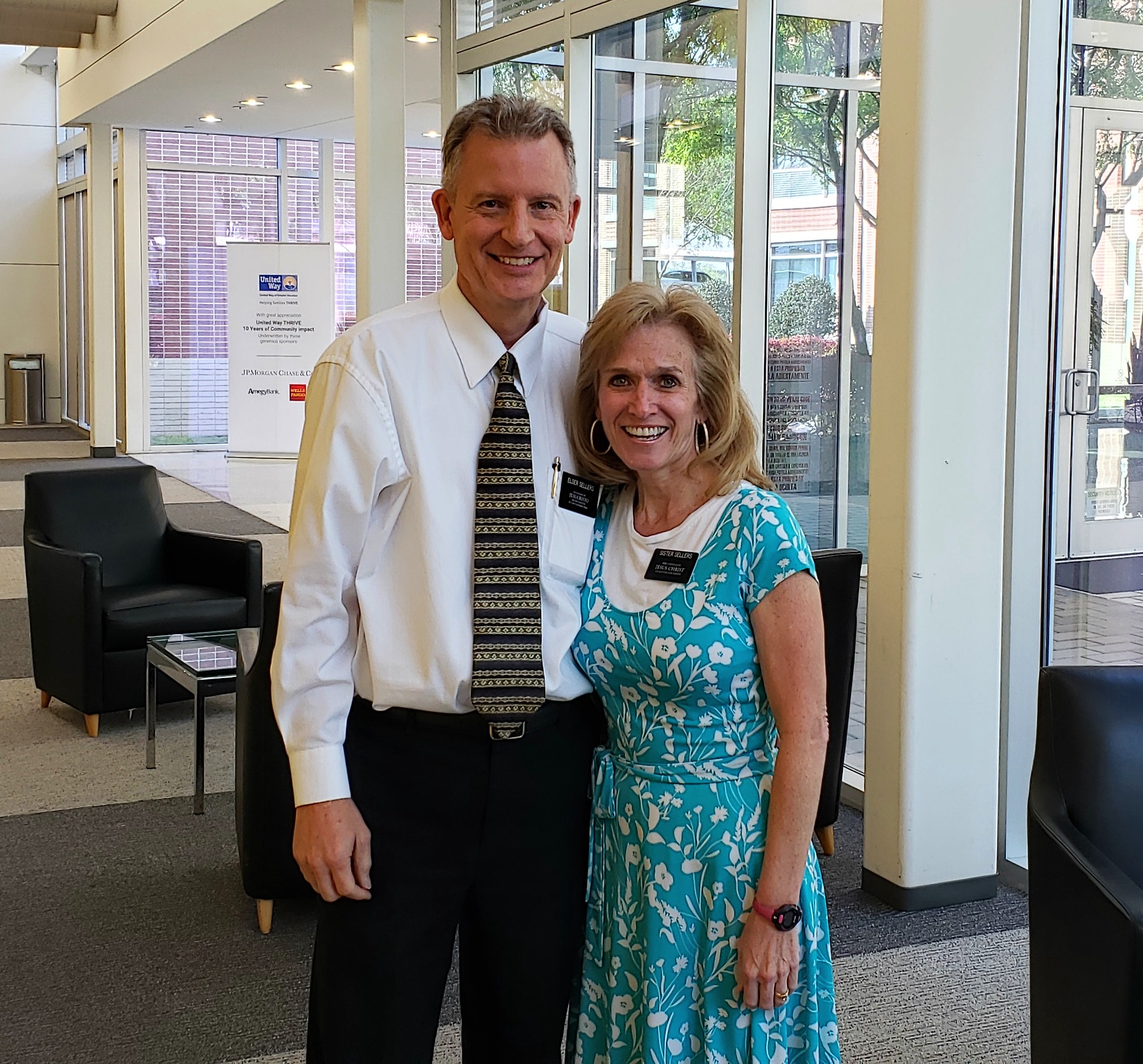 Elder Kory Sellers and Sister Diane Sellers after their final Longterm Recovery Steering Committee meeting at United Way of Greater Houston.