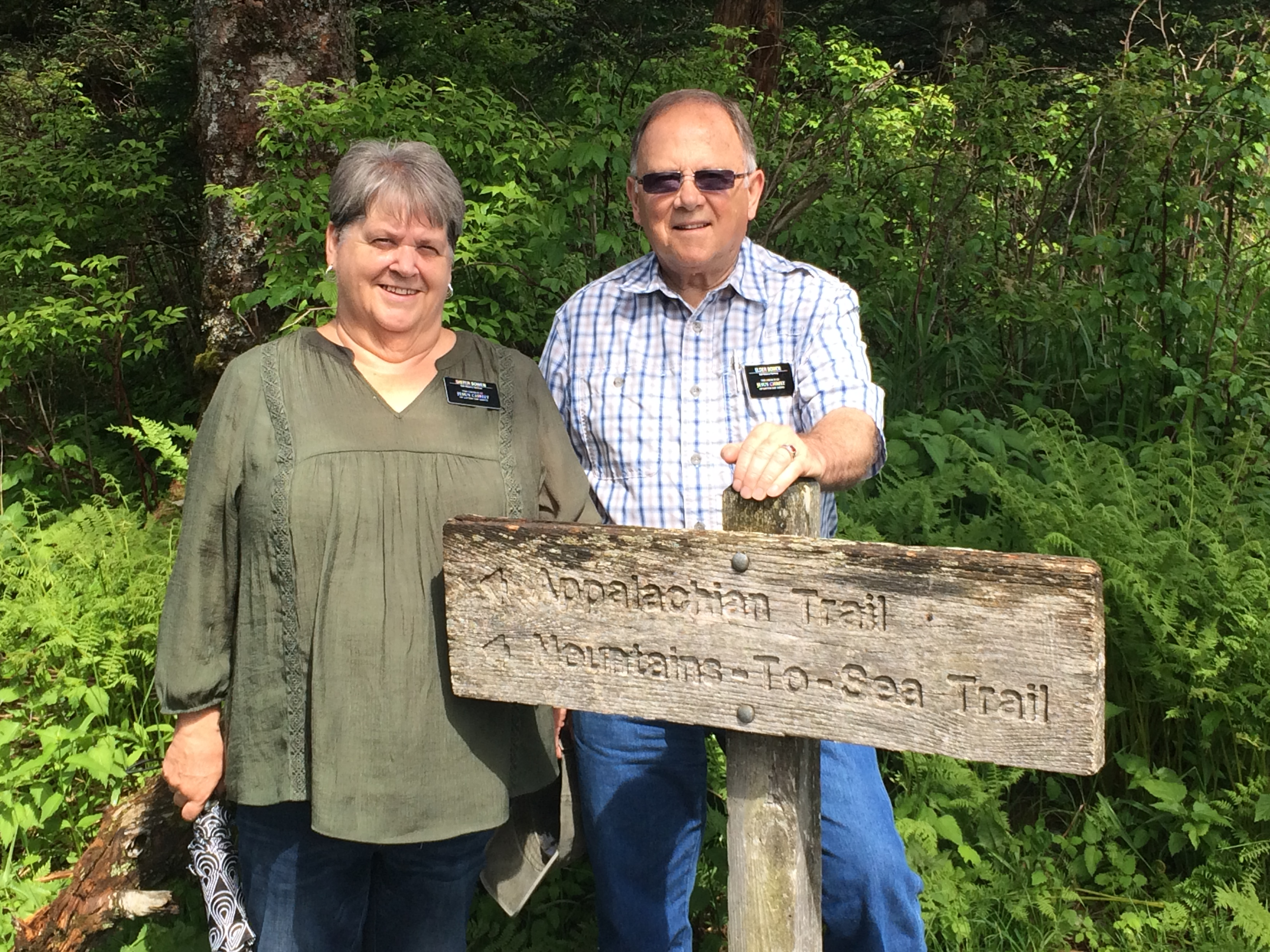 Sister Valerie Bowen and Elder Bruce Bowen, who are serving as self-reliance missionaries in the Tennessee Knoxville Mission, spend some time sight-seeing along the Appalachian Trail on one of their preparation days.