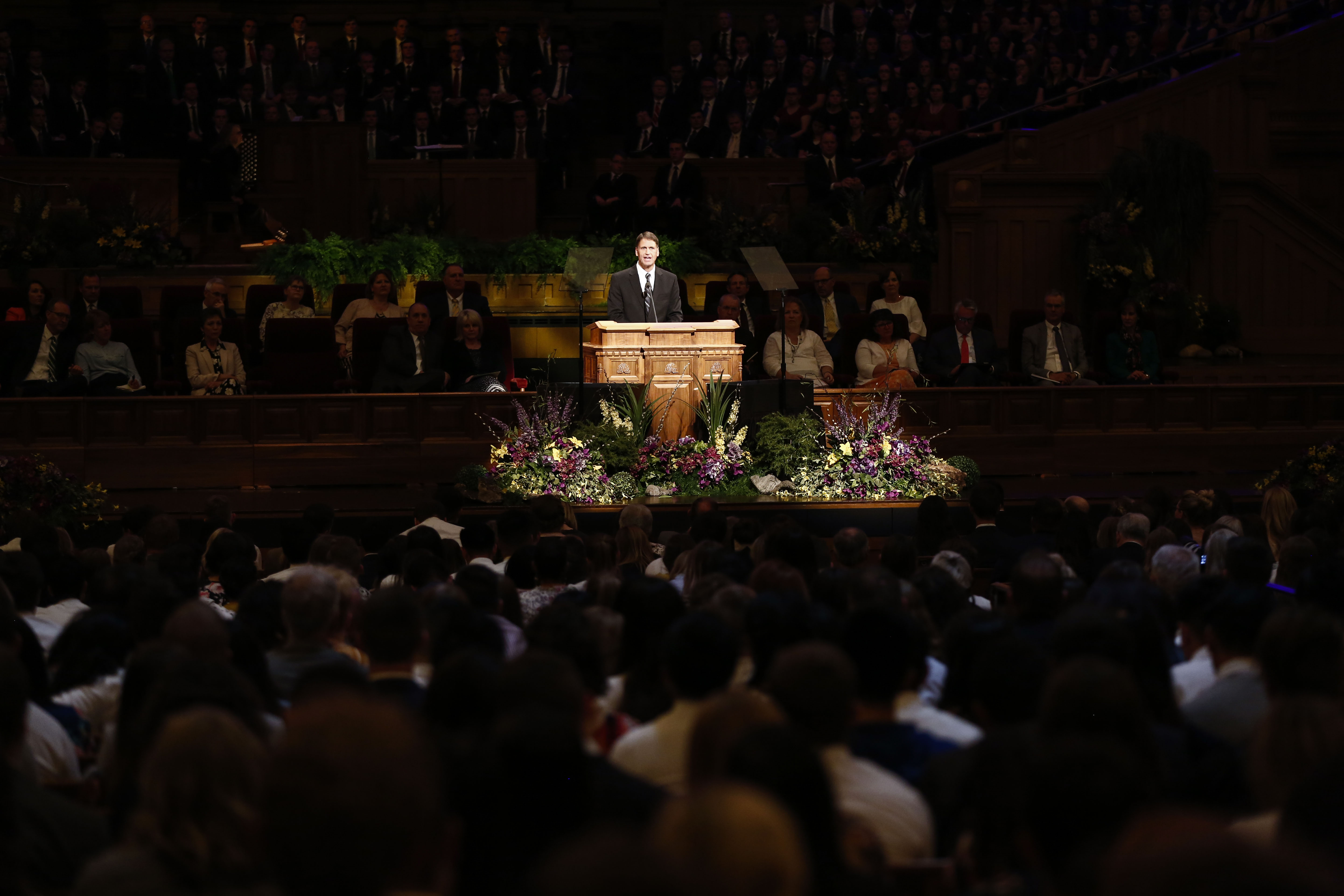 Elder Carl B. Cook speaks about marriage during the Worldwide Devotional for Young Adults at the Salt Lake Tabernacle in Salt Lake City on Sunday, May 5, 2019.