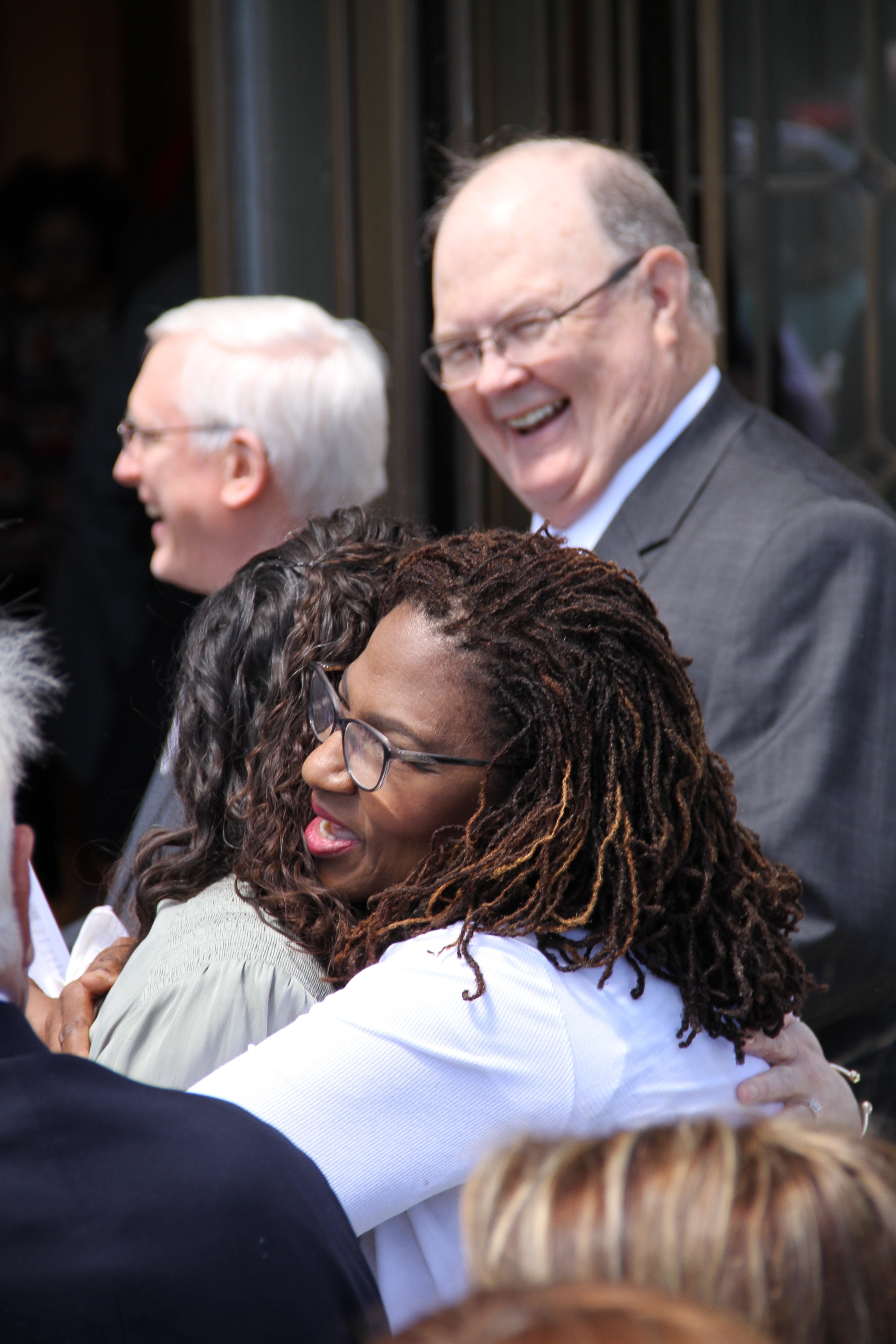 Attendees of the Memphis Tennessee Temple rededication greet one another following the rededication ceremony on May 5, 2019.
