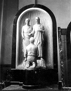 First Vision sculpture and bas relief are two of Brother Knaphus' Church-commissioned works.