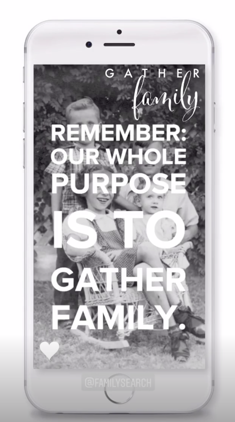 Sister Rhonna Farrer shares posts encouraging followers to to use the FamilySearch apps in her Instagram stories. She often posts 'how to' stories that show how to utilize the tools in the apps.