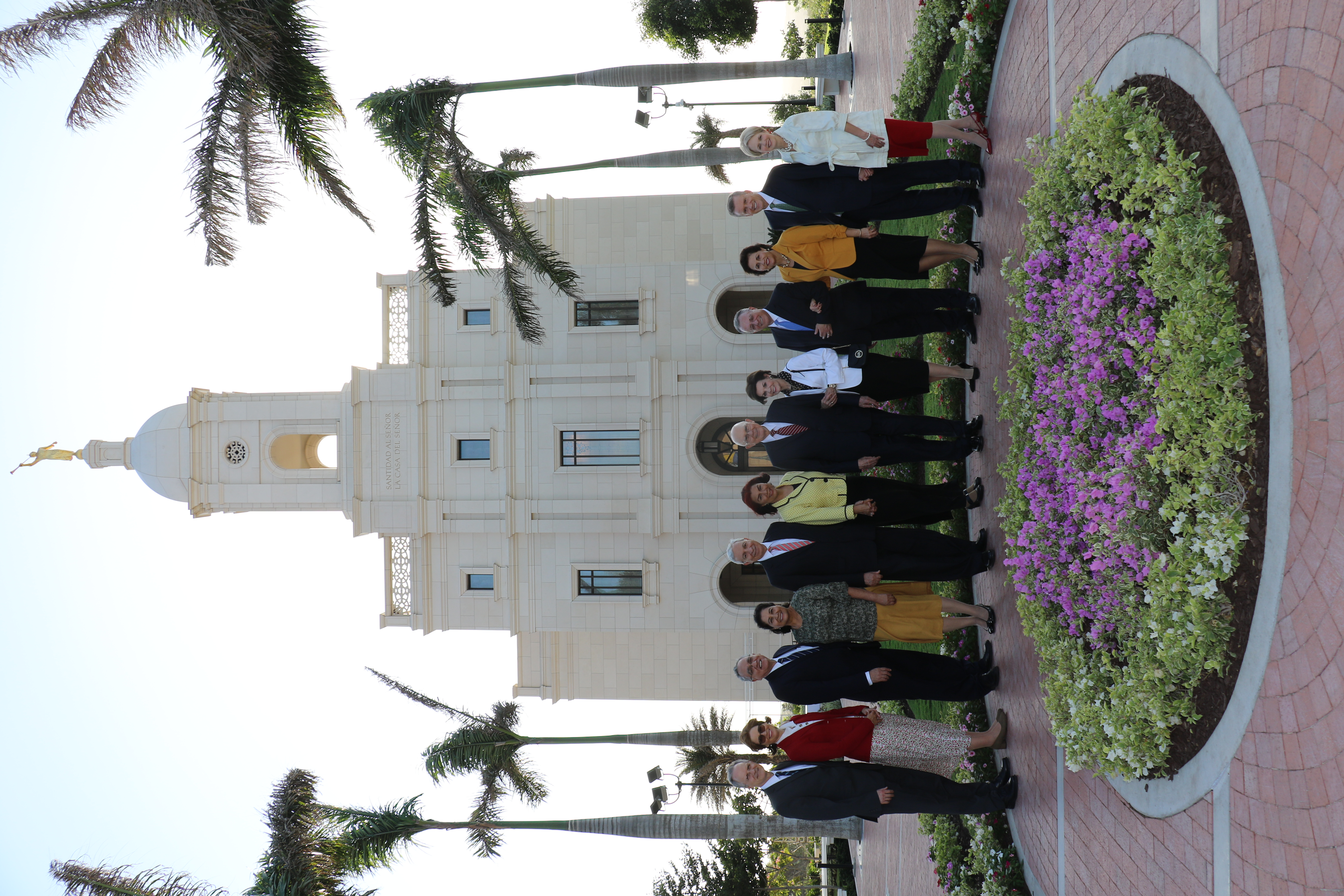 Visiting General Authorities and their wives outside the Barranquilla Colombia Temple.