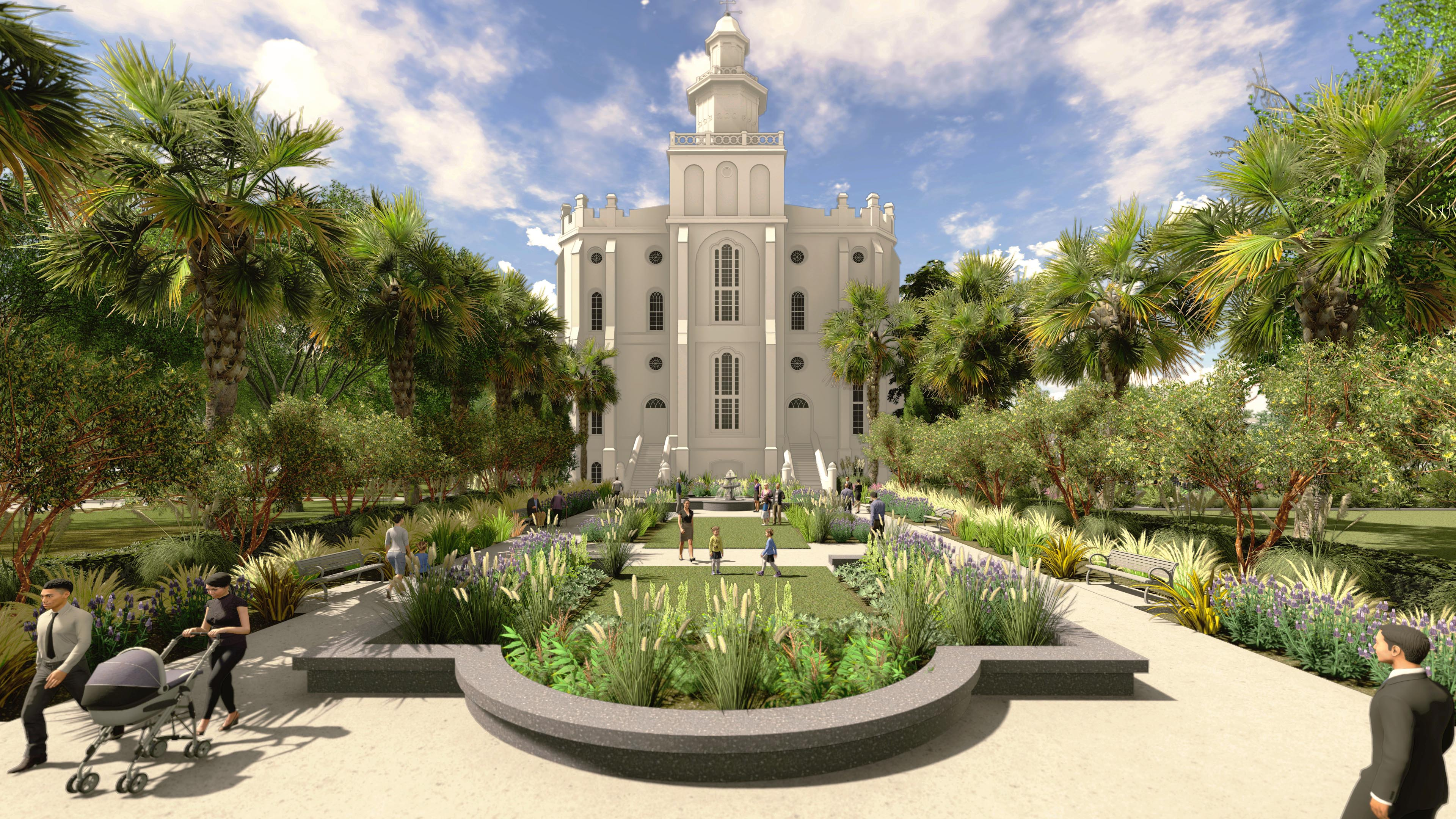 Rendering of the east elevation plaza at the St. George Utah Temple. The temple closed on Nov. 4, 2019, for extensive renovations.