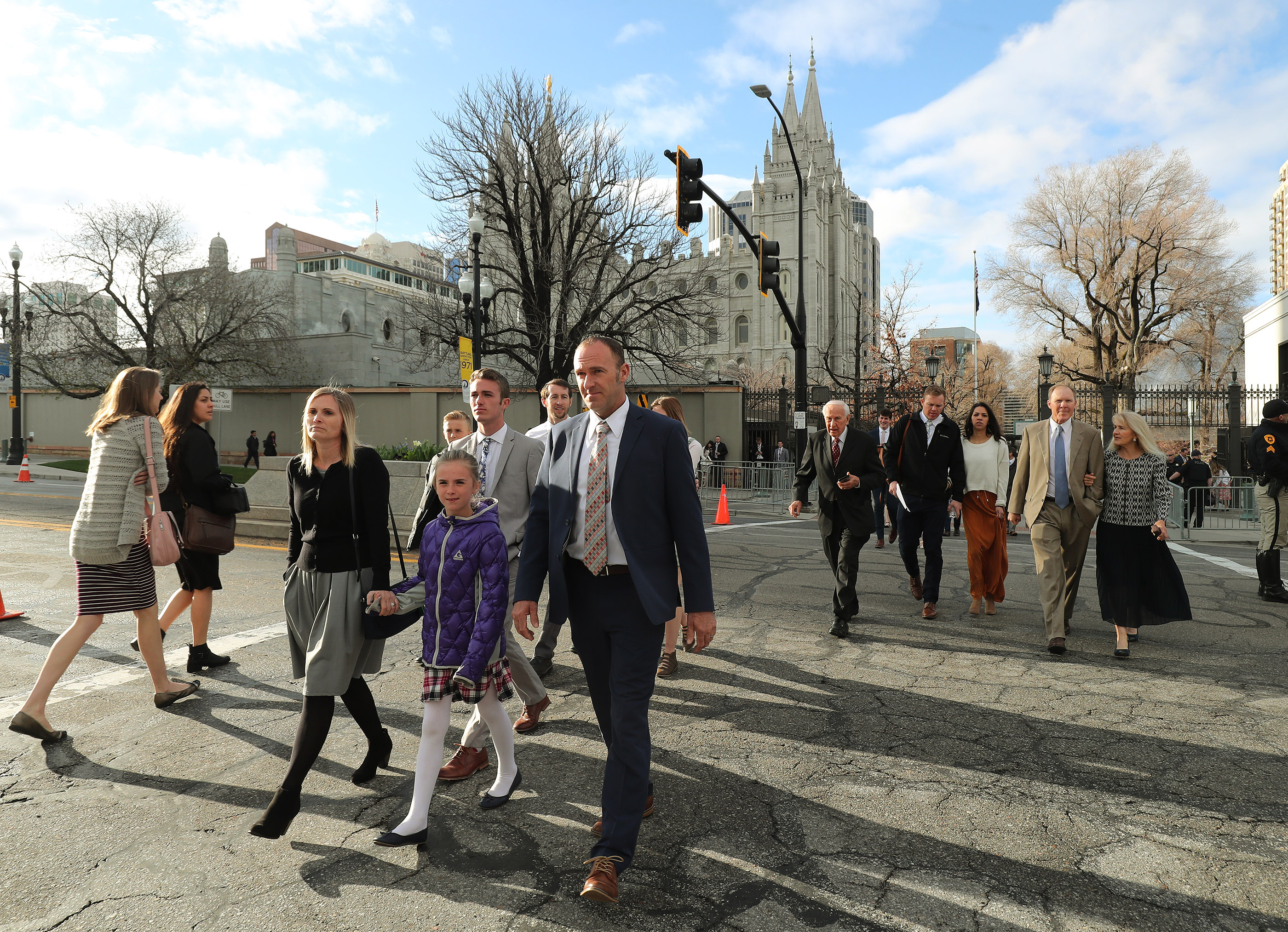 Conferencegoers arrive at the Conference Center prior to the 189th Annual General Conference of The Church of Jesus Christ of Latter-day Saints in Salt Lake City on Saturday, April 6, 2019.