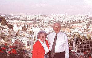 President Gordon B. Hinckley and his wife, Sister Marjorie Hinckley, at BYU Jerusalem Center in 1997.