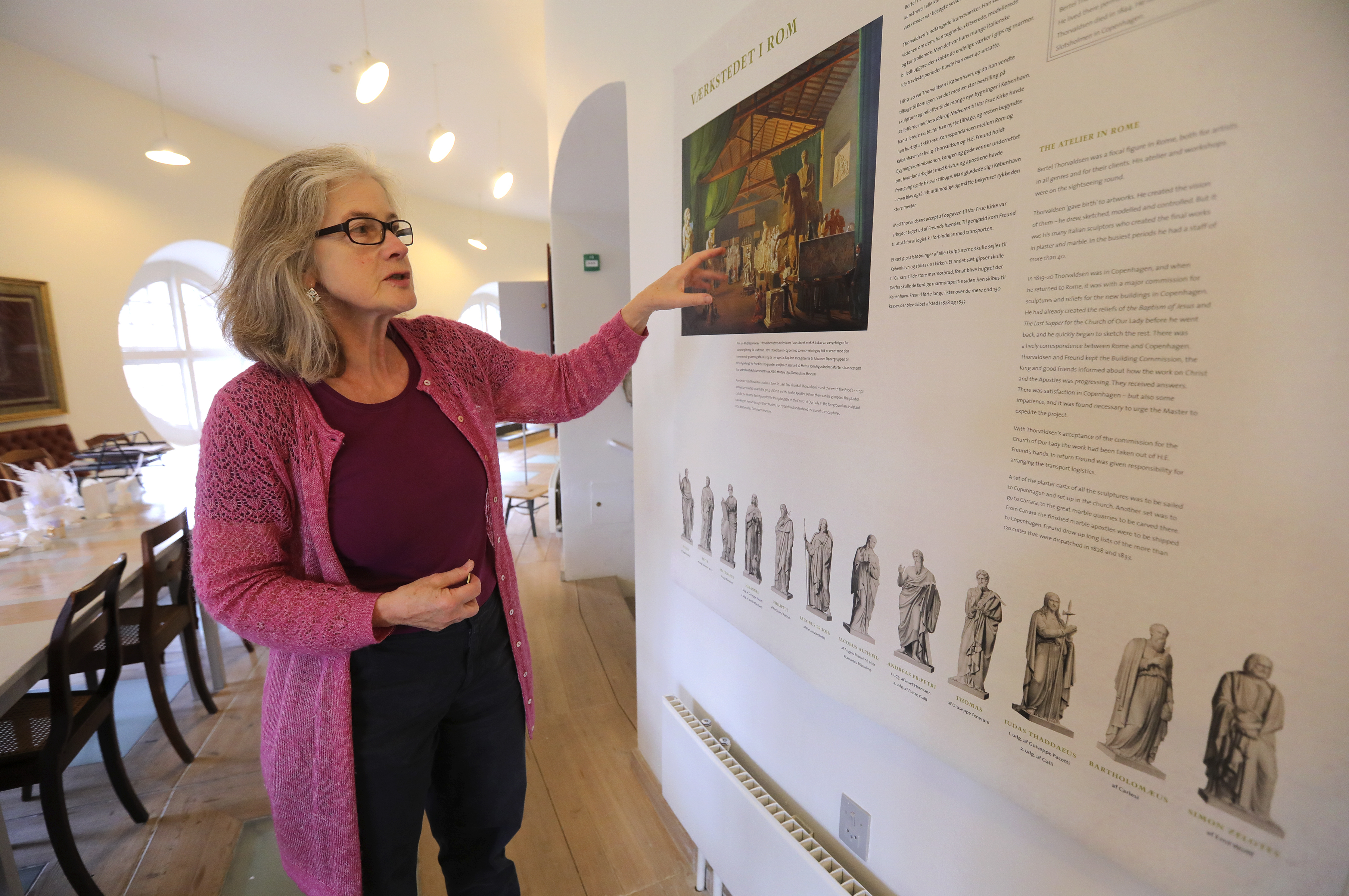 Susanne Torgard, curator for the museum of the Church of Our Lady, talks about Danish sculptor Bertel Thorvaldsen, who created Christus and the 12 apostle statues, at the Church of Our Lady in Copenhagen, Denmark, on Tuesday, Nov. 13, 2018.