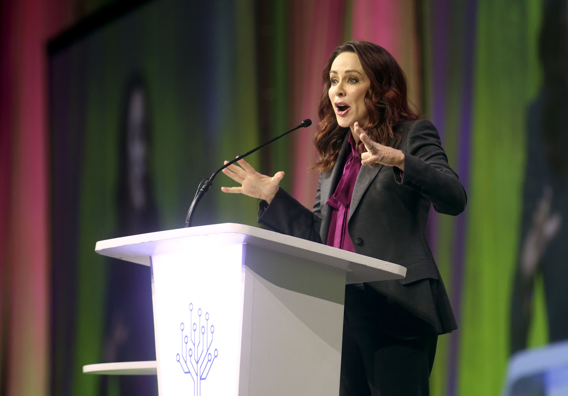 Actress Patricia Heaton gives her keynote speech during RootsTech at the Salt Palace Convention Center in Salt Lake City on Thursday, Feb. 28, 2019.