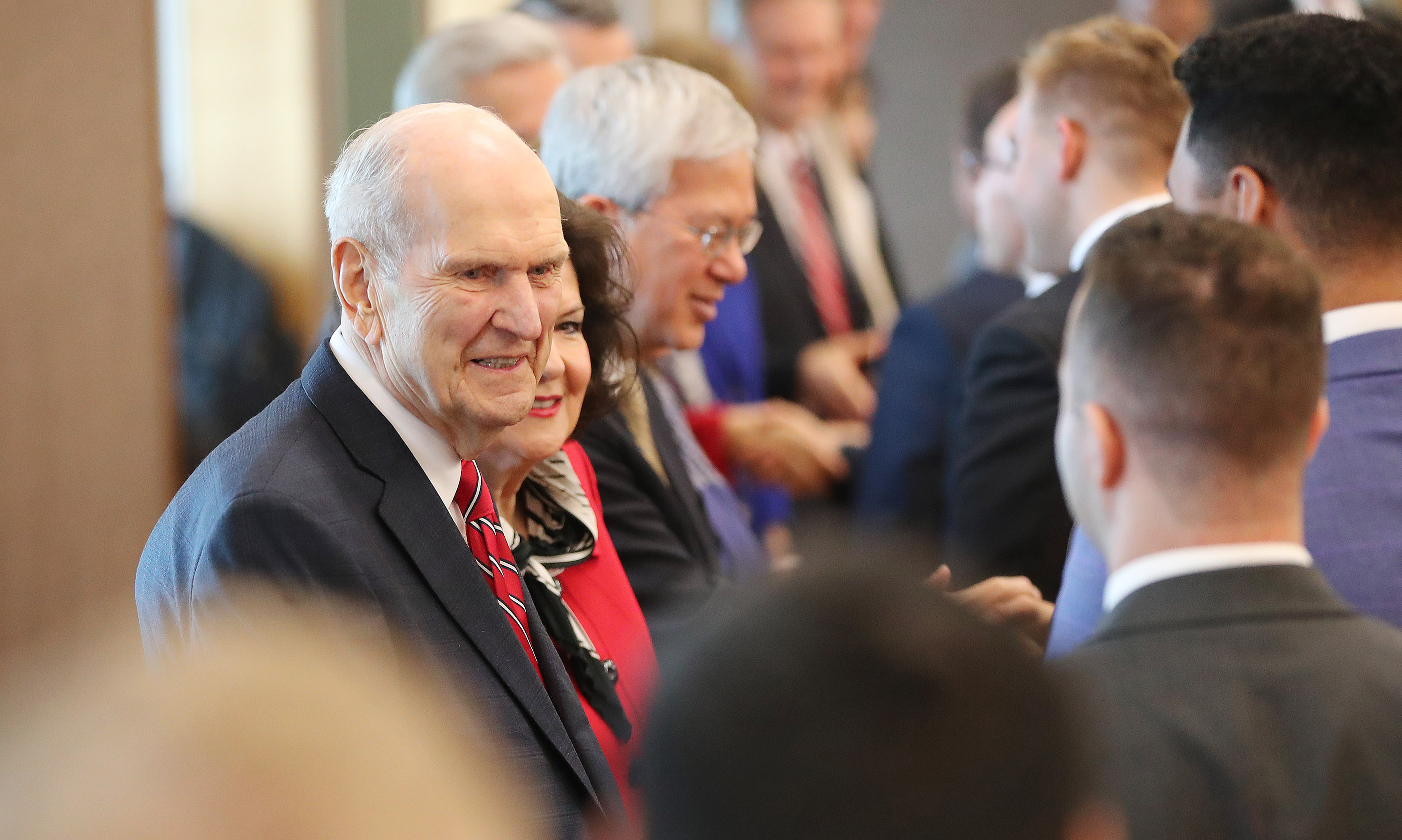 President Russell M. Nelson of The Church of Jesus Christ of Latter-day Saints meets with missionaries in Auckland, New Zealand, on Tuesday, May 21, 2019.