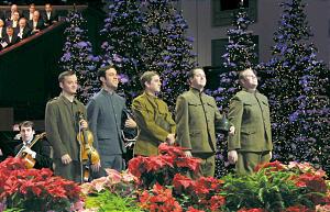Representing World War I soldiers, are Amman Starr, Levi Smylie, Kirby Heyborne, Rex Kocherhans and Timothy Workman.