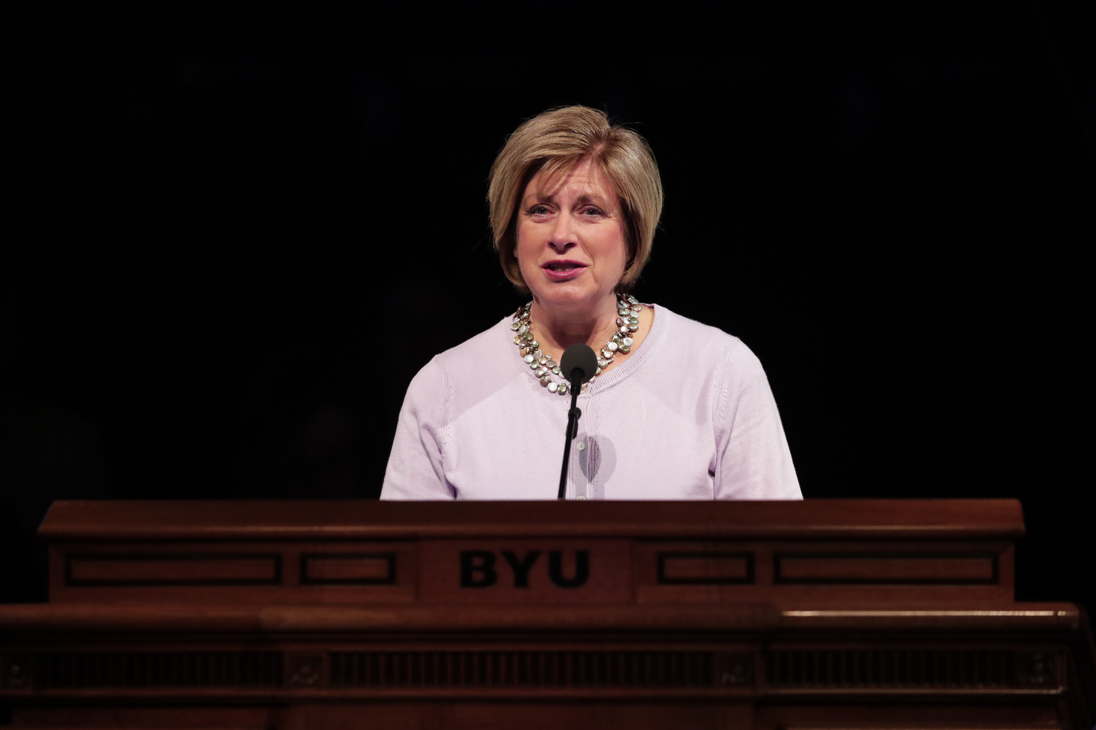 Sister Julie B. Beck, former Relief Society general president, delivers her BYU Women's Conference keynote address, held in the Marriott Center in Provo, Utah, on May 2, 2019.