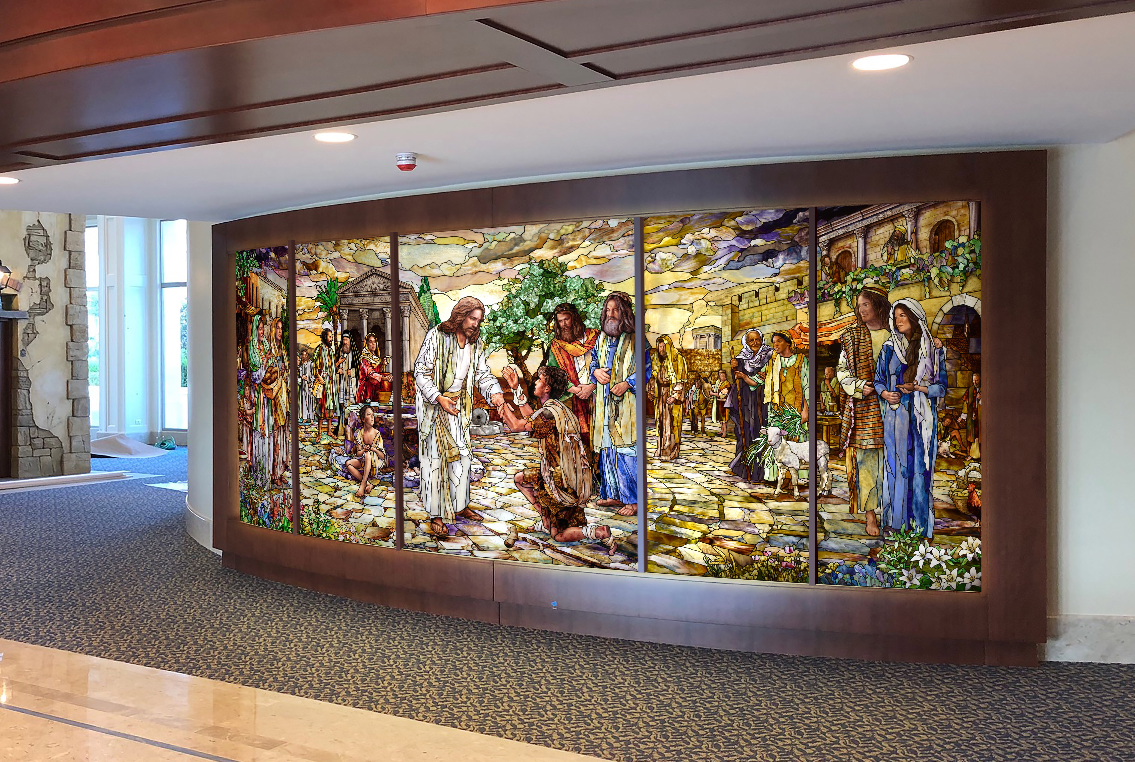 """The art glass feature by Holdman Studios in the Rome Italy Temple visitors' center is titled """"Come unto Me."""""""