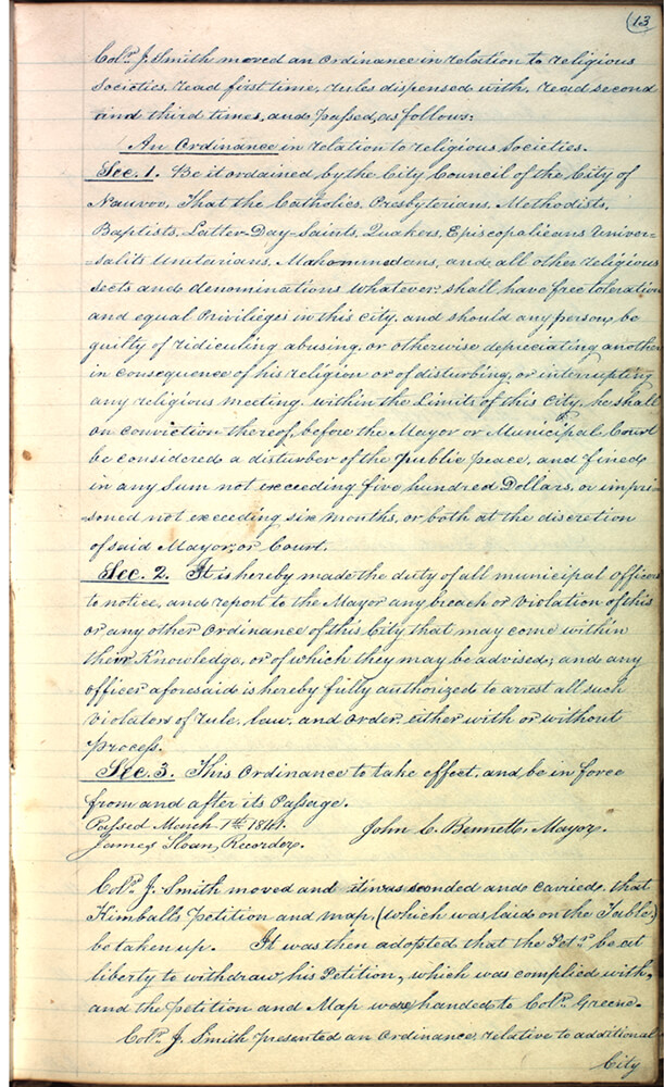 This document details a religious freedom ordinance passed by the Nauvoo City Council in 1841.