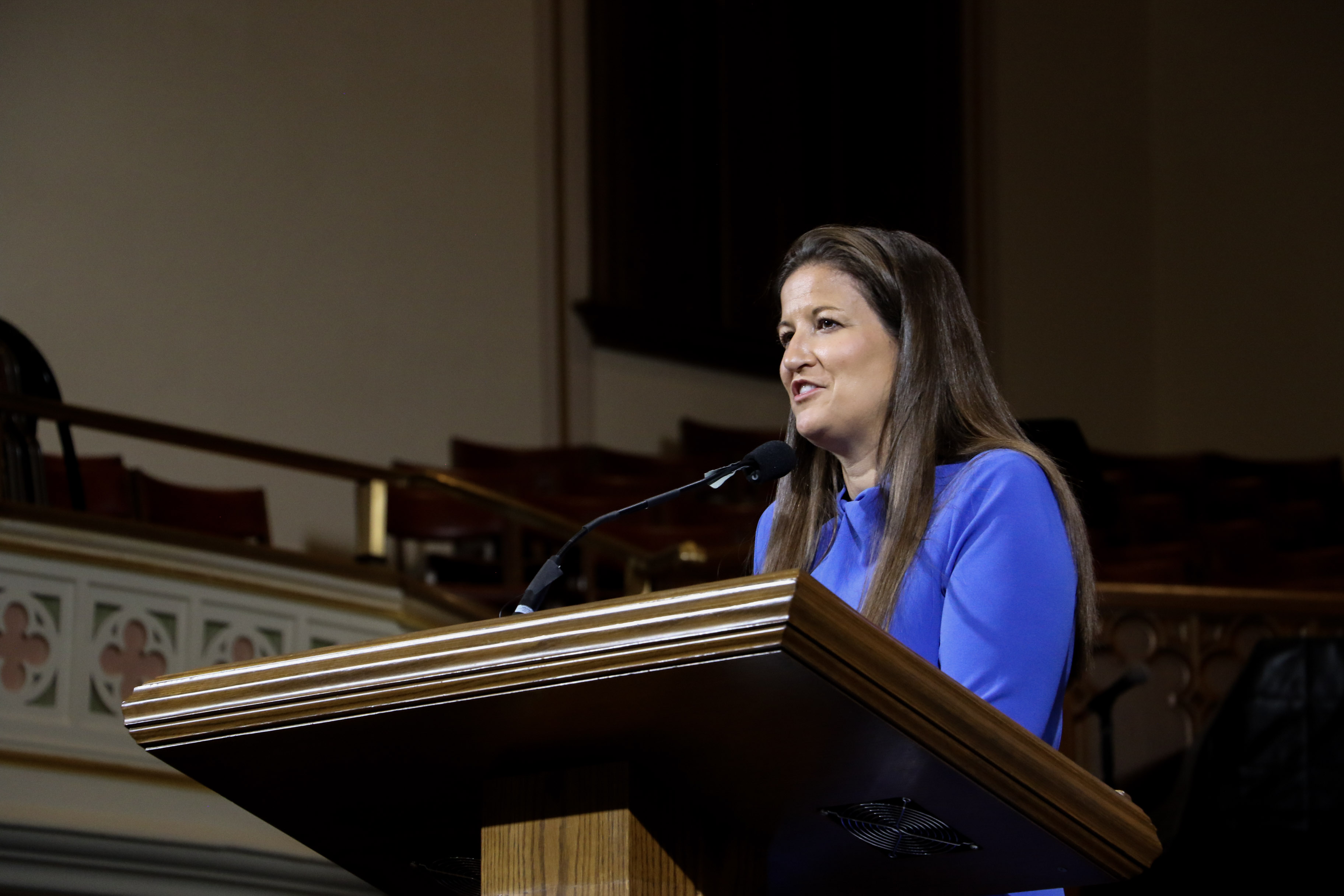 Sister Liz Darger, BYU associate athletic director and member of the Young Women general board, speaks at a LDS Business College Devotional in the Assembly Hall at Temple Square on Tuesday, June 18, 2019.