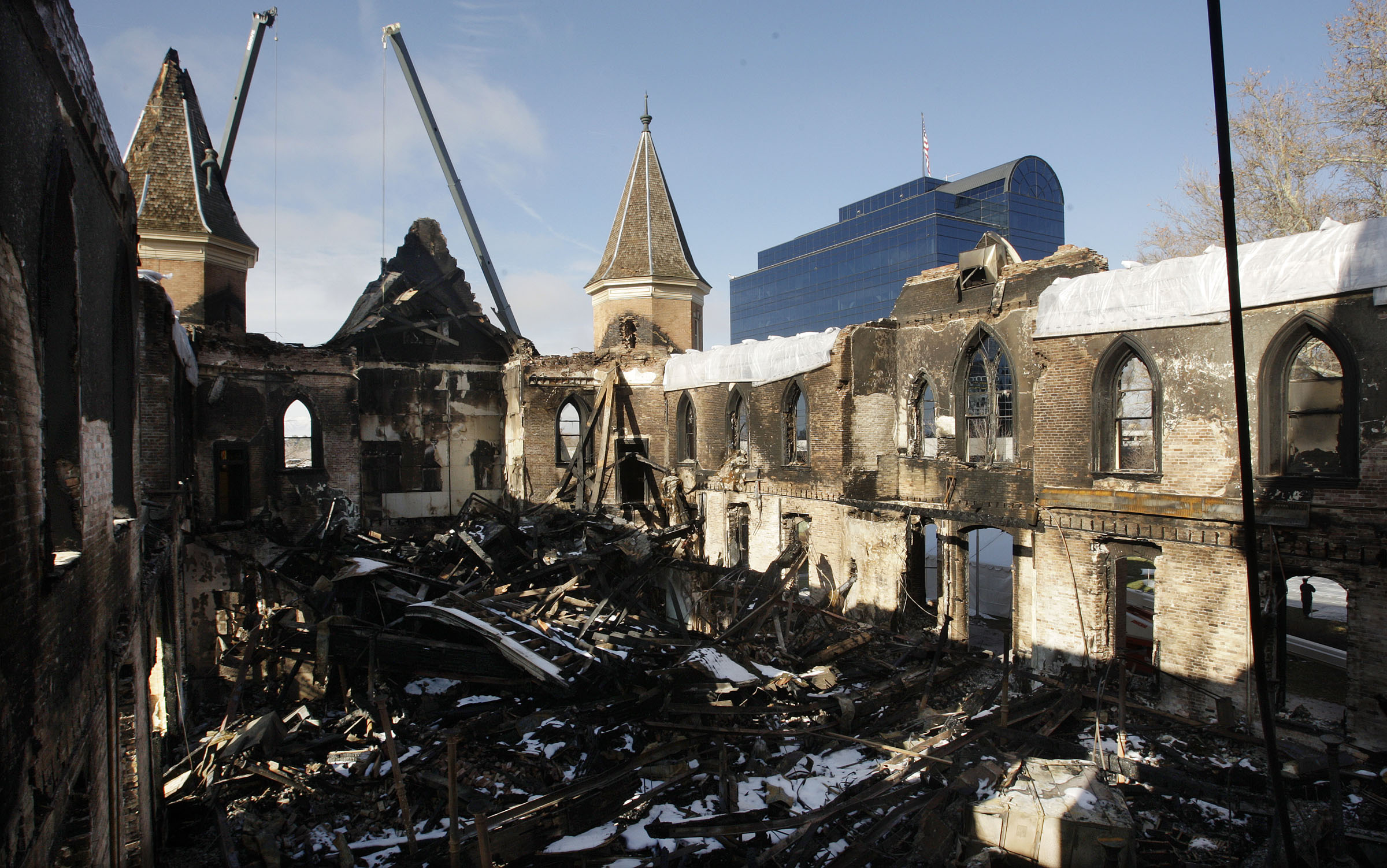 The outside walls are some of the remains of the LDS Provo Tabernacle after a fire destroyed the building in Provo, Utah, Dec. 28, 2010.