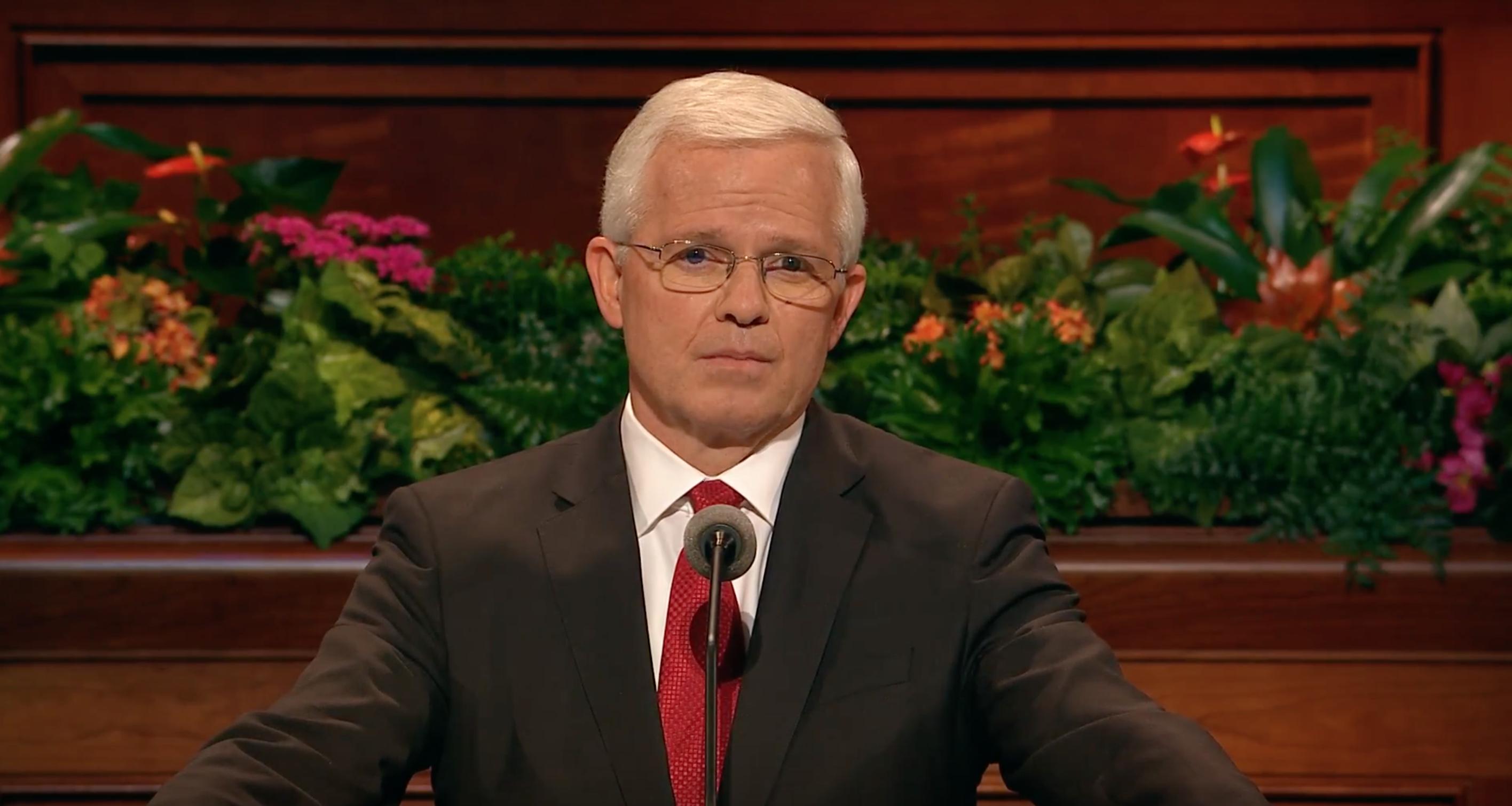 Elder Matthew L. Carpenter speaks during the Sunday afternoon session of October 2018 general conference.