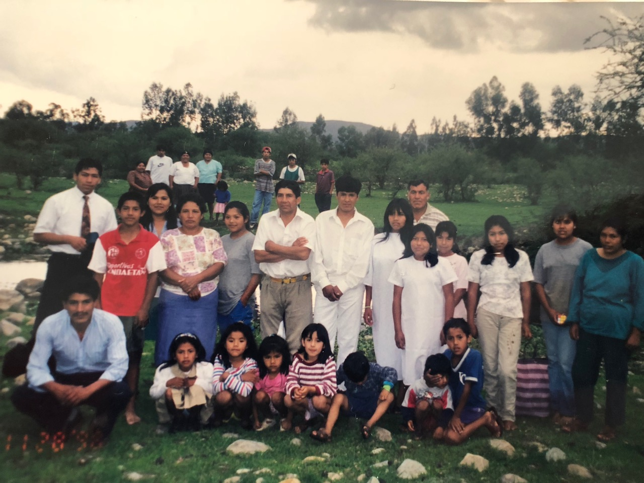 The Sanchez extended family 20 years ago. Since the initial baptism of Naval Sanchez and his wife and son, many of their family members have been baptized and their local branch has grown into a stake.