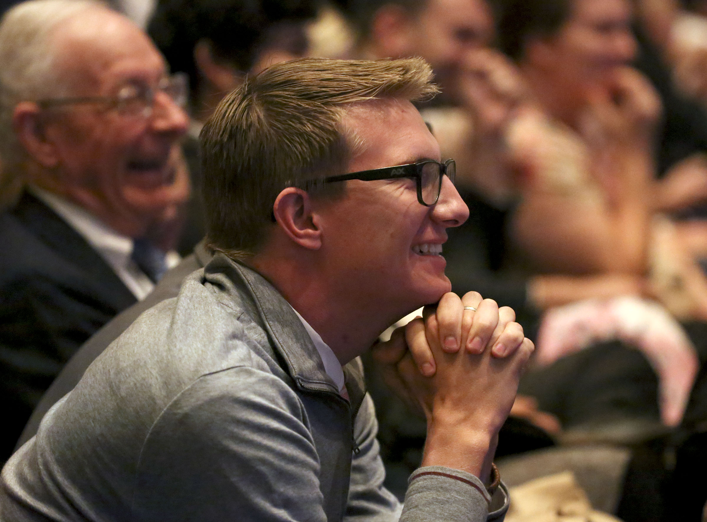 Mark Richey reacts to the announcement of 12 new temples during the Sunday afternoon session of the 188th Semiannual General Conference of The Church of Jesus Christ of Latter-day Saints in the Conference Center in downtown Salt Lake City on Sunday, Oct. 7, 2018.