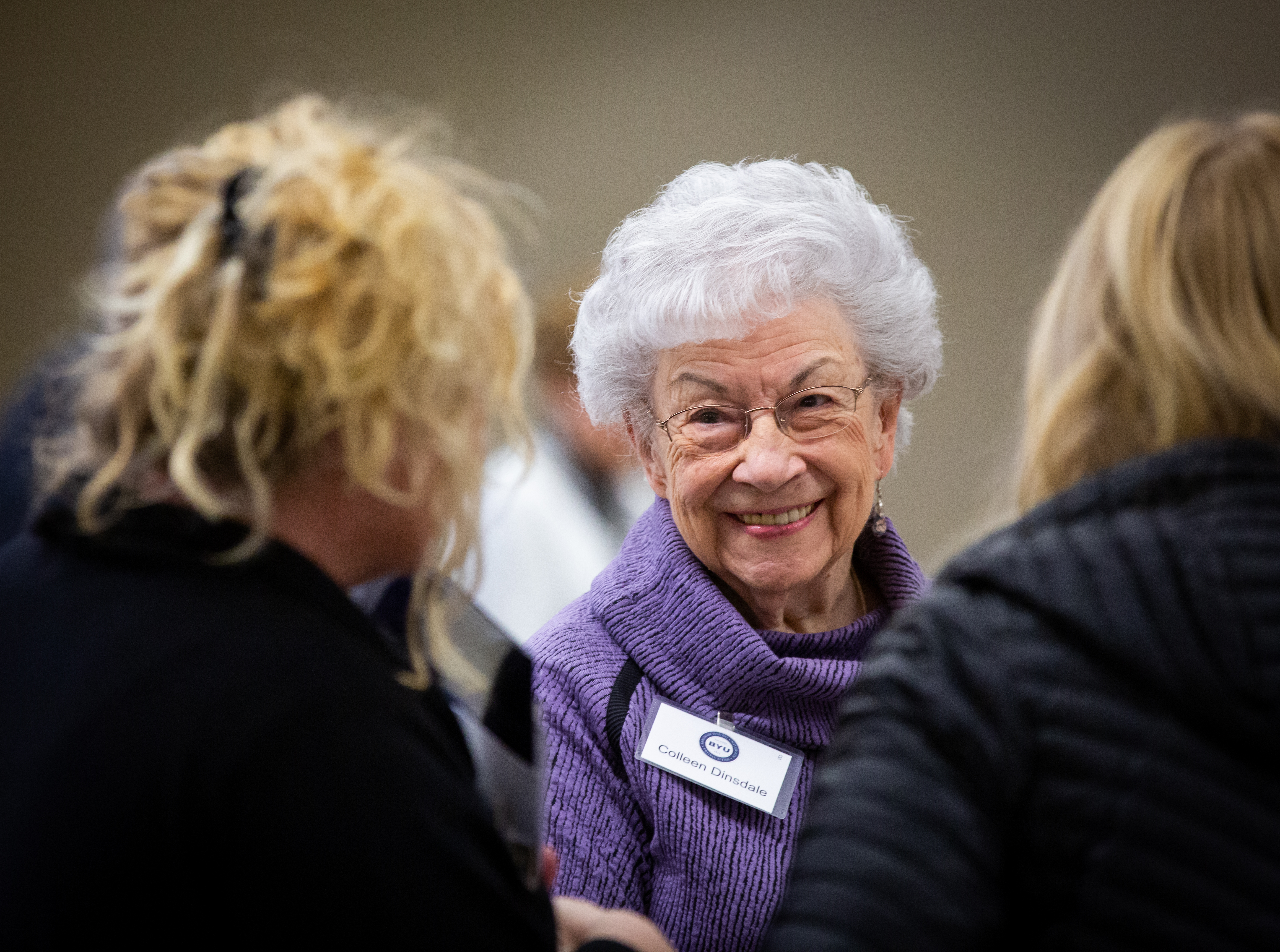 Attendees of the 15th Annual Marjorie Pay Hinckley Lecture mingle at a dinner held before the lecture on Feb. 7, 2019 on the BYU Provo, Utah campus.