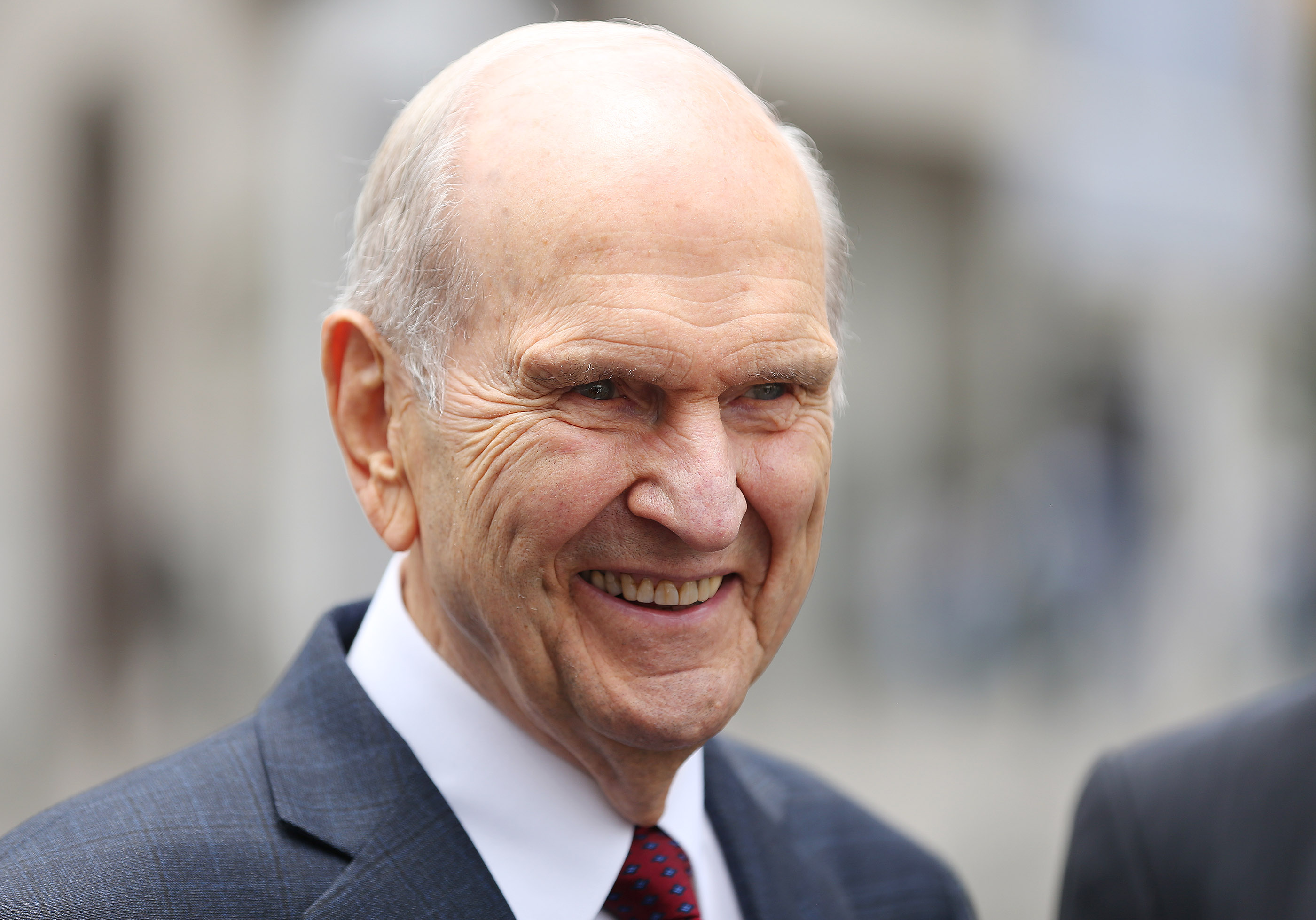 President Russell M. Nelson of The Church of Jesus Christ of Latter-day Saints smiles after leaving the Government Palace after speaking with the president of Peru in Lima, Peru on Oct. 20, 2018.