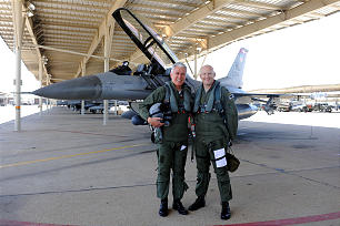 President Dieter F. Uchtdorf and Lt. Col. Travis Rex, who piloted the F-16.