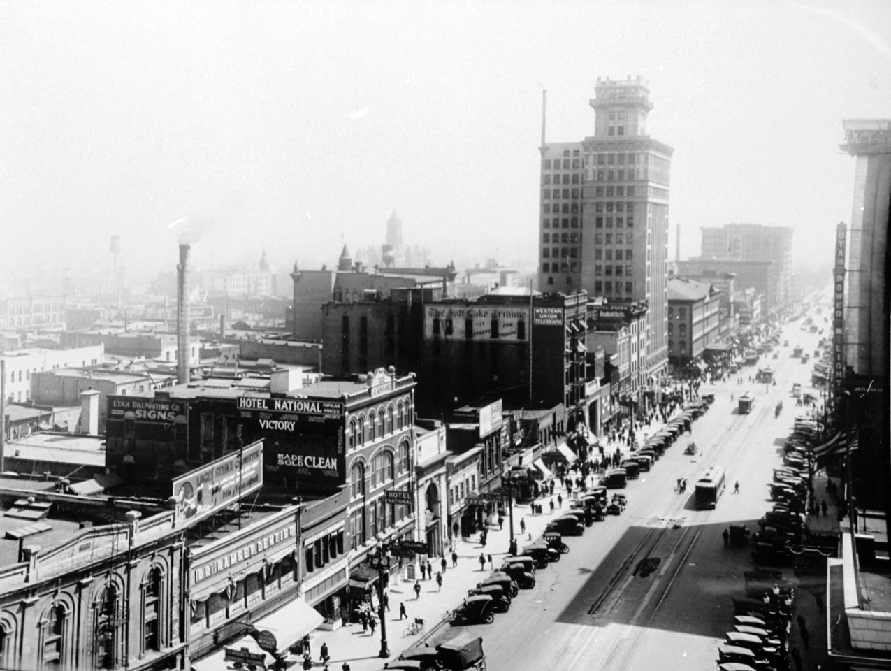 A view looking south from the old Deseret News building on Main Street in Salt Lake City in 1918.