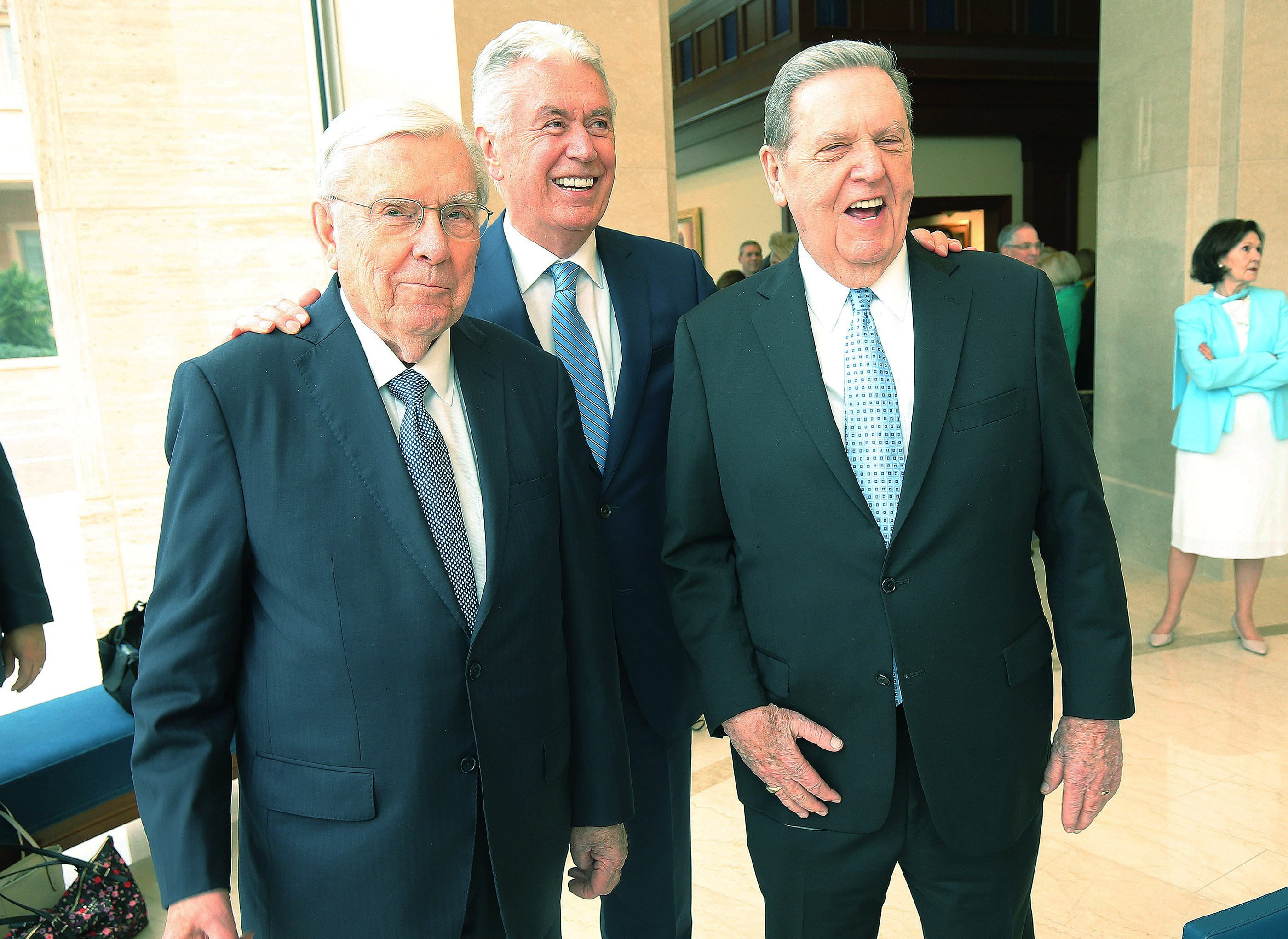 President M. Russell Ballard, Elder Dieter F. Uchtdorf and Elder Jeffrey R. Holland, members of the Quorum of the Twelve Apostles of The Church of Jesus Christ of Latter-day Saints, share a laugh in the Rome Italy Temple visitors' center in Rome, Italy on Monday, March 11, 2019.