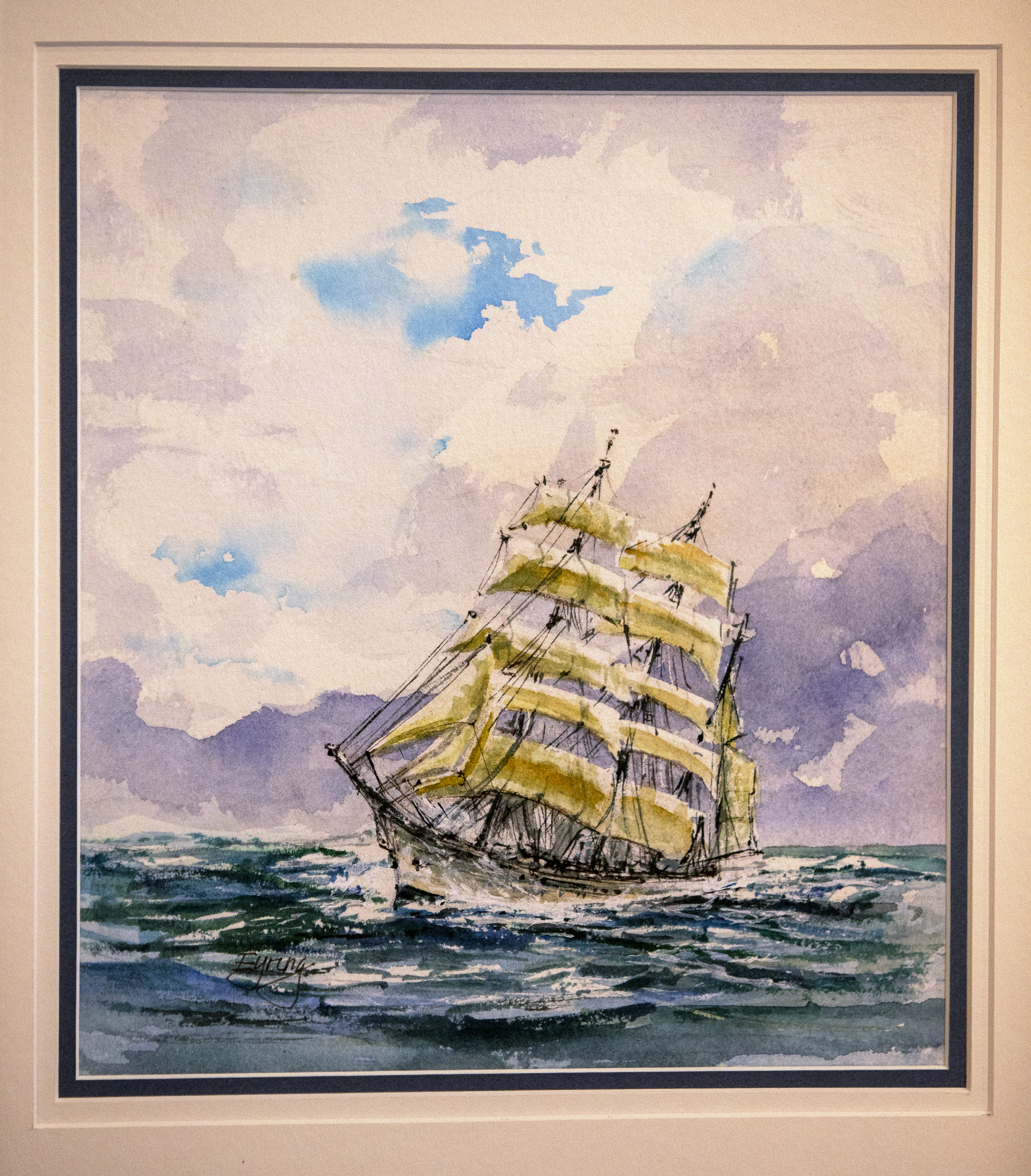 """The painting """"Bark Diana — Bremerhaven, Germany"""" by President Henry B. Eyring, is one of the paintings on display at a special exhibit in the Church History Museum in Salt Lake City."""