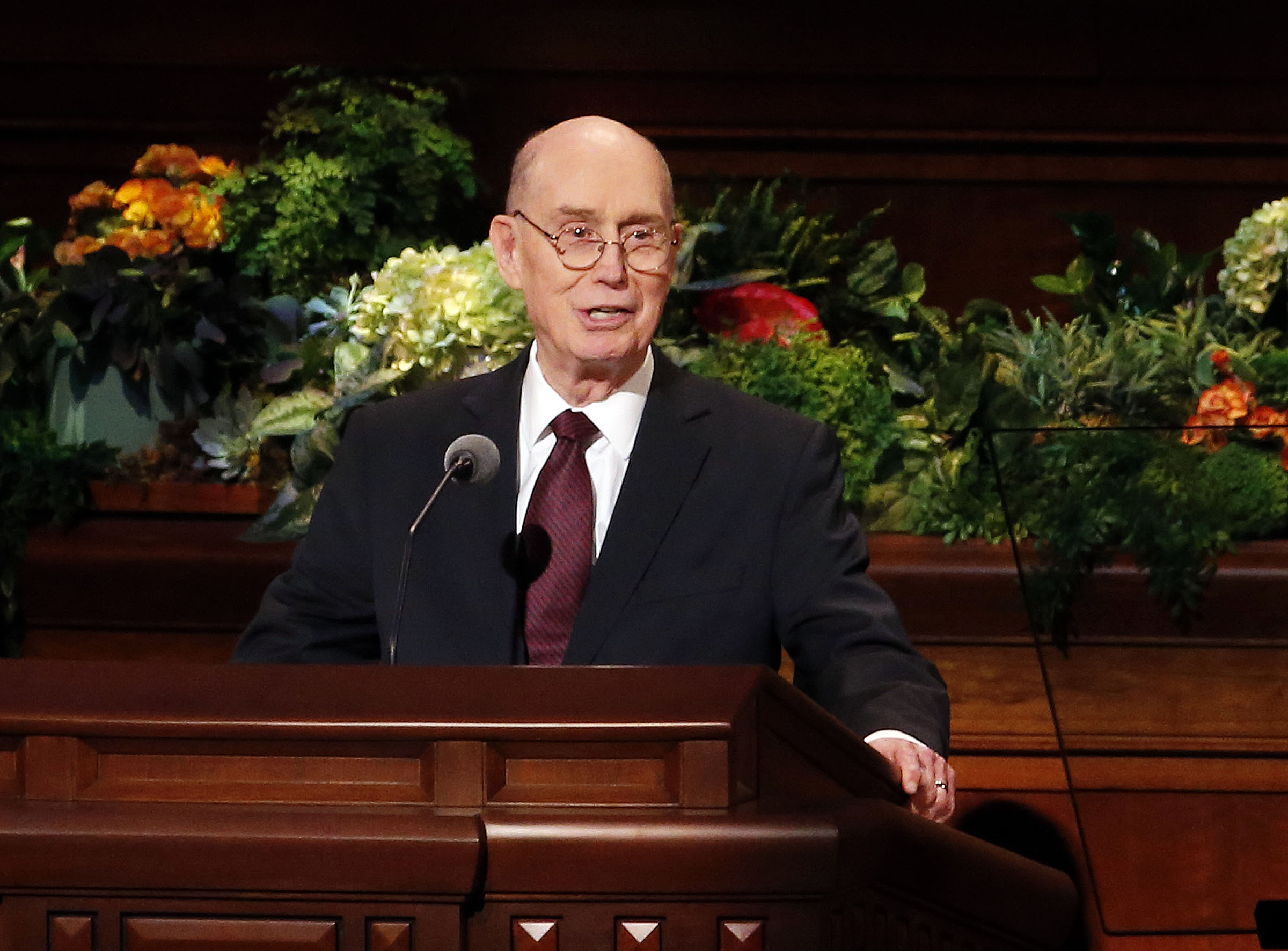 President Henry B. Eyring, second counselor in the First Presidency of The Church of Jesus Christ of Latter-day Saints, speaks during the priesthood session of the 189th Annual General Conference in the Conference Center in Salt Lake City on Saturday, April 6, 2019.