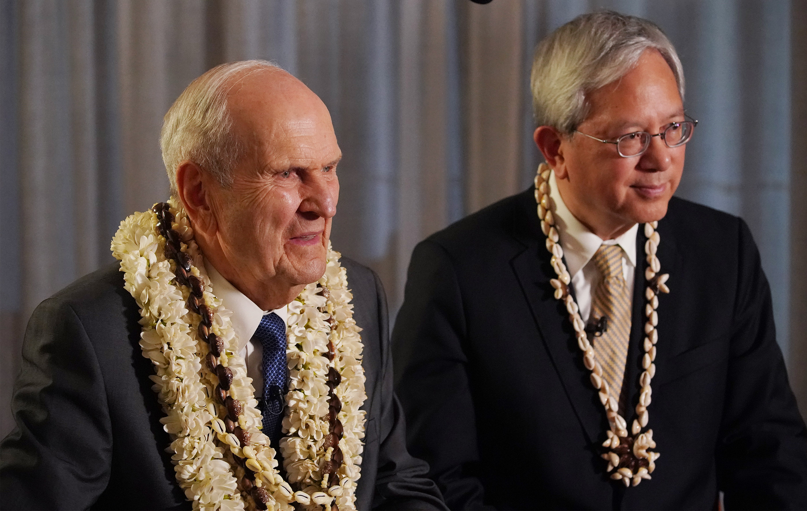 President Russell M. Nelson of The Church of Jesus Christ of Latter-day Saints and Elder Gerrit W. Gong of the Quorum of the Twelve Apostles are interviewed by media in Papeete, Tahiti, on May 24, 2019.