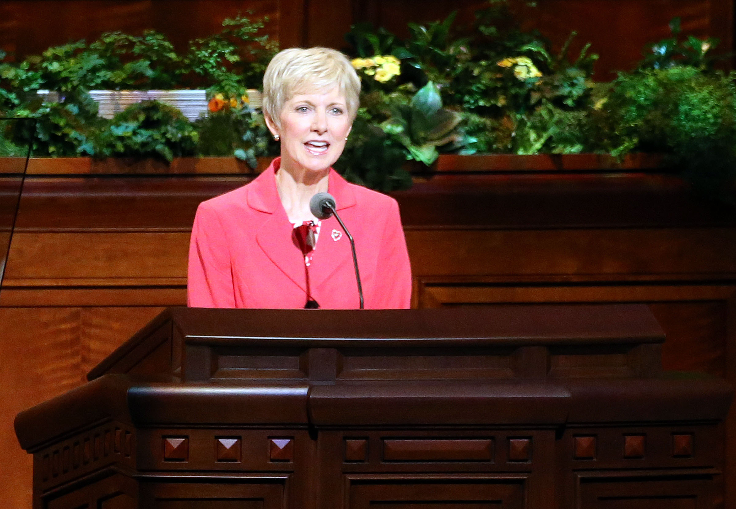 Sister Jean B. Bingham, Relief Society general president, speaks during the Sunday afternoon session of the 188th Annual General Conference of The Church of Jesus Christ of Latter-day Saints at the Conference Center in Salt Lake City on Sunday, April 1, 2018.