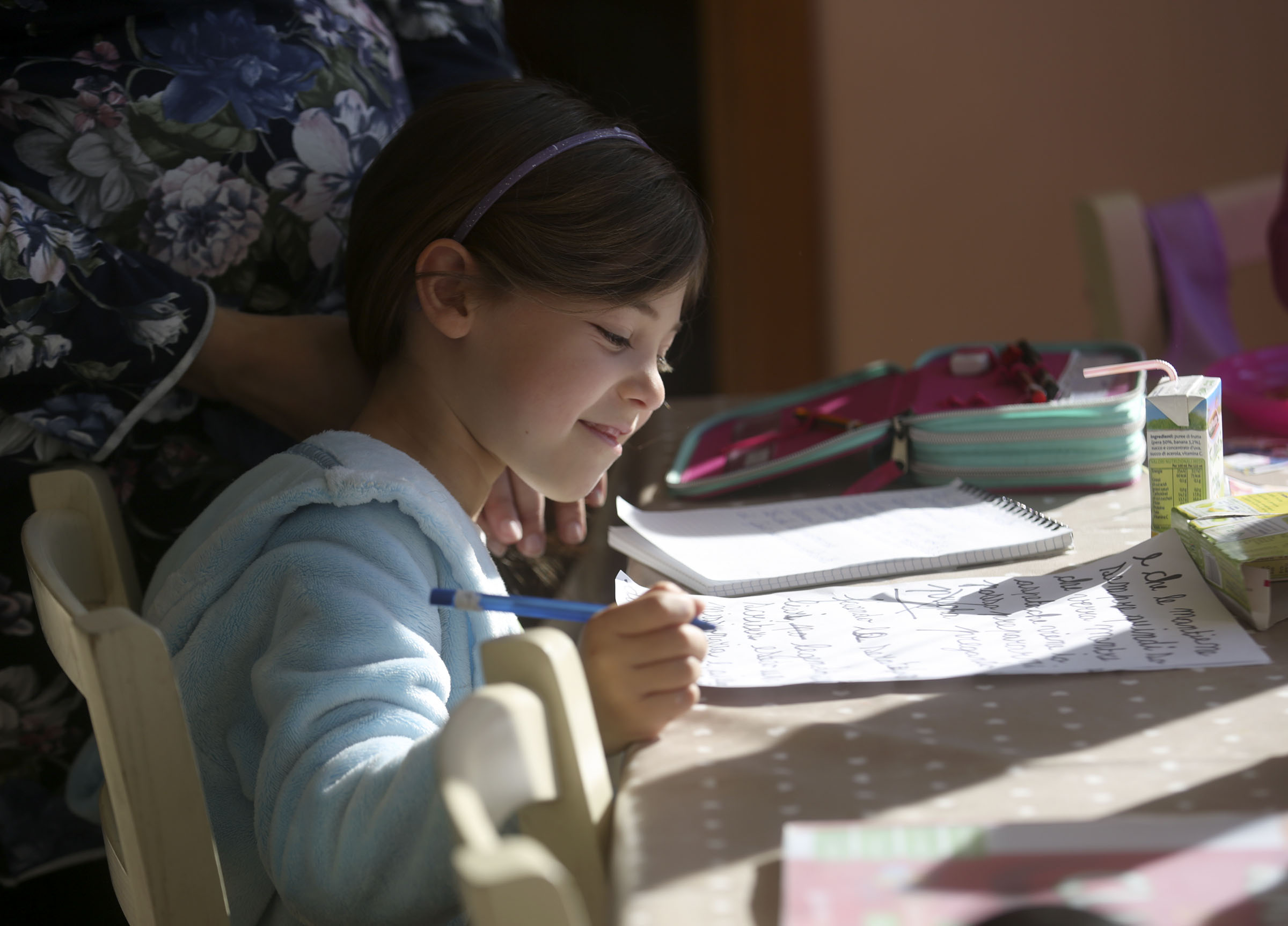 Emma Salerno, 7, prepares her Primary talk at home in Rome, Italy, on Sunday morning, Nov. 18, 2018.
