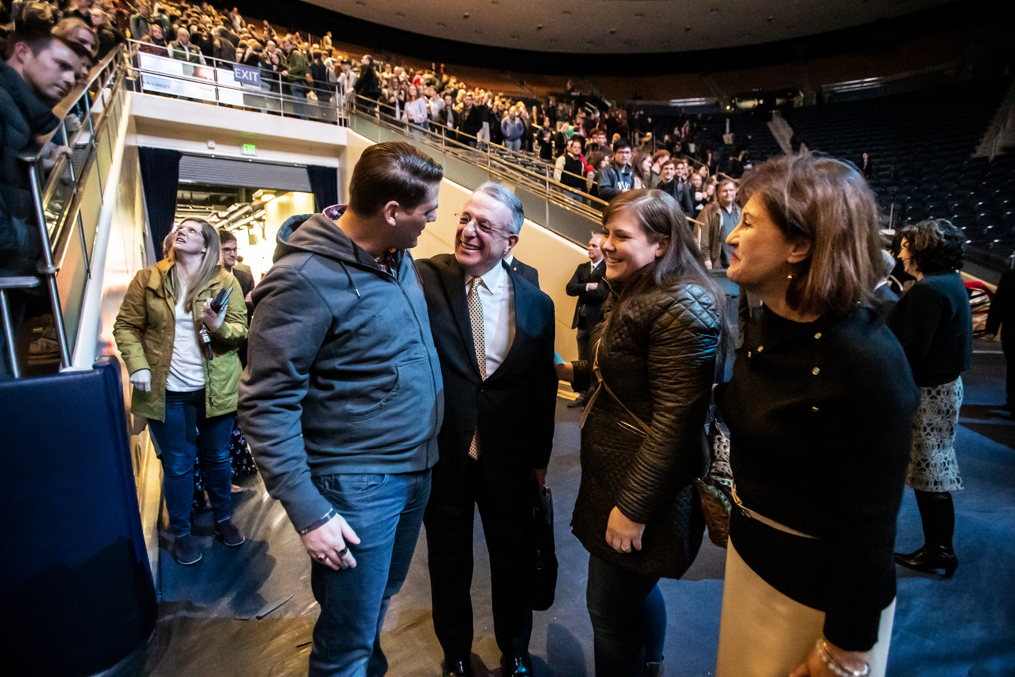 Elder Ulisses Soares of the Quorum of the Twelve Apostles of The Church of Jesus Christ of Latter-day Saints and his wife Sister Rosana Soares greet some of the people attending as they exit after his speaking at a devotional at BYU in Provo on Tuesday, Feb. 5, 2019.