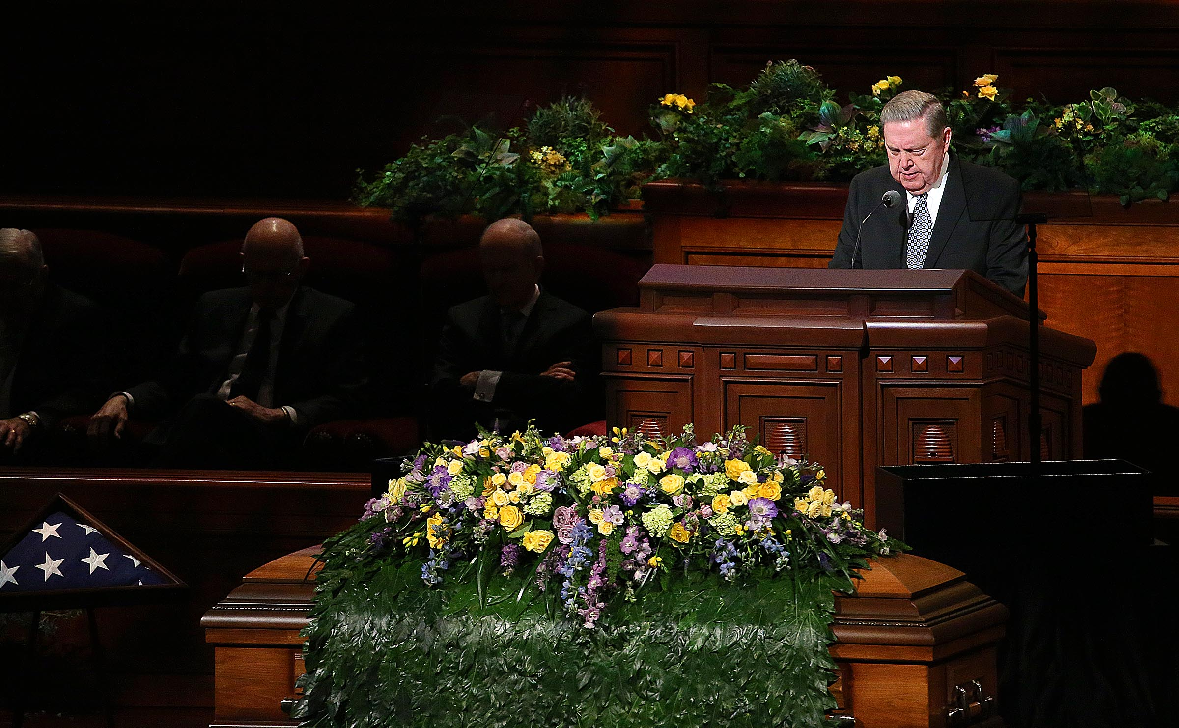 Elder Jeffrey R. Holland, a member of the Church's Quorum of the Twelve Apostles, gives the benediction at President Thomas S. Monson's funeral at the Conference Center in Salt Lake City on Friday, Jan. 12, 2018.