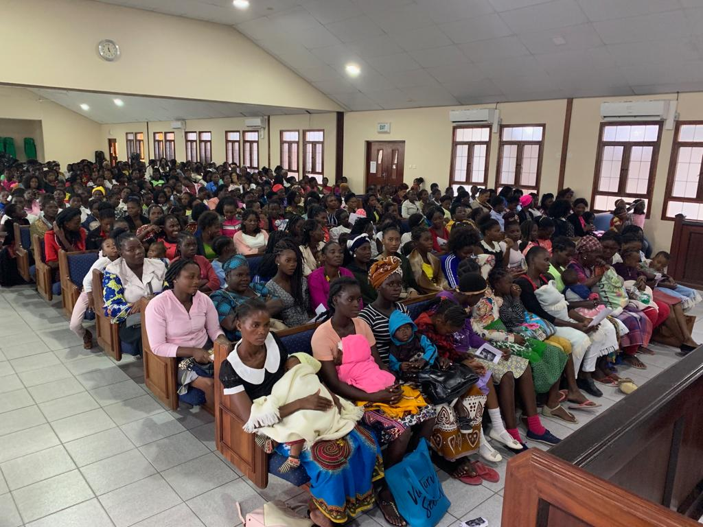 Members in Beira, Mozambique attend a stake conference where Sister Bonnie H. Cordon, Young Women general president, speaks.