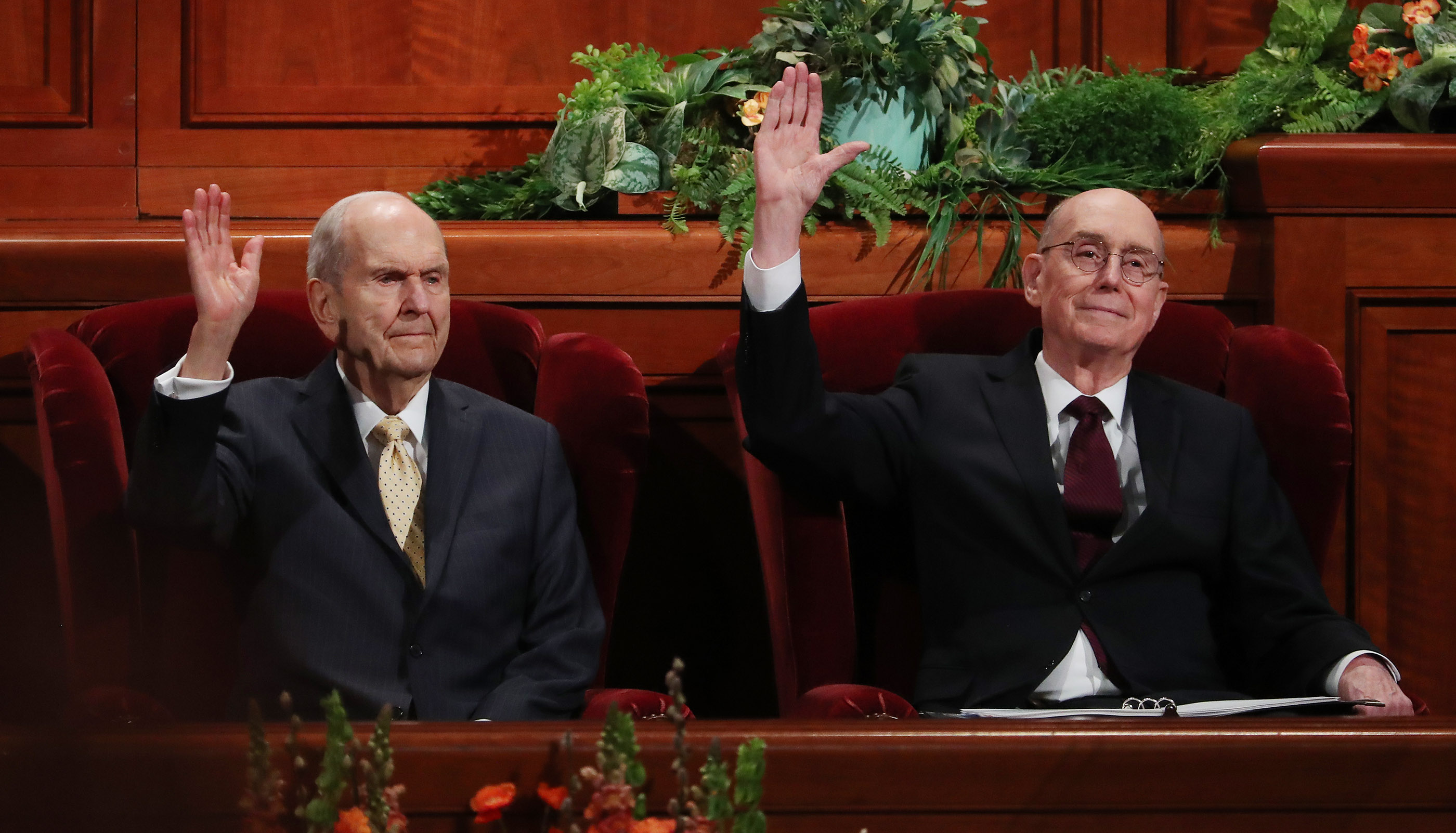President Russell M. Nelson of The Church of Jesus Christ of Latter-day Saints, left, and President Henry B. Eyring, second counselor in the First Presidency, sustain leaders during the Saturday afternoon session of the 189th Annual General Conference of The Church of Jesus Christ of Latter-day Saints at the Conference Center in Salt Lake City on Saturday, April 6, 2019.