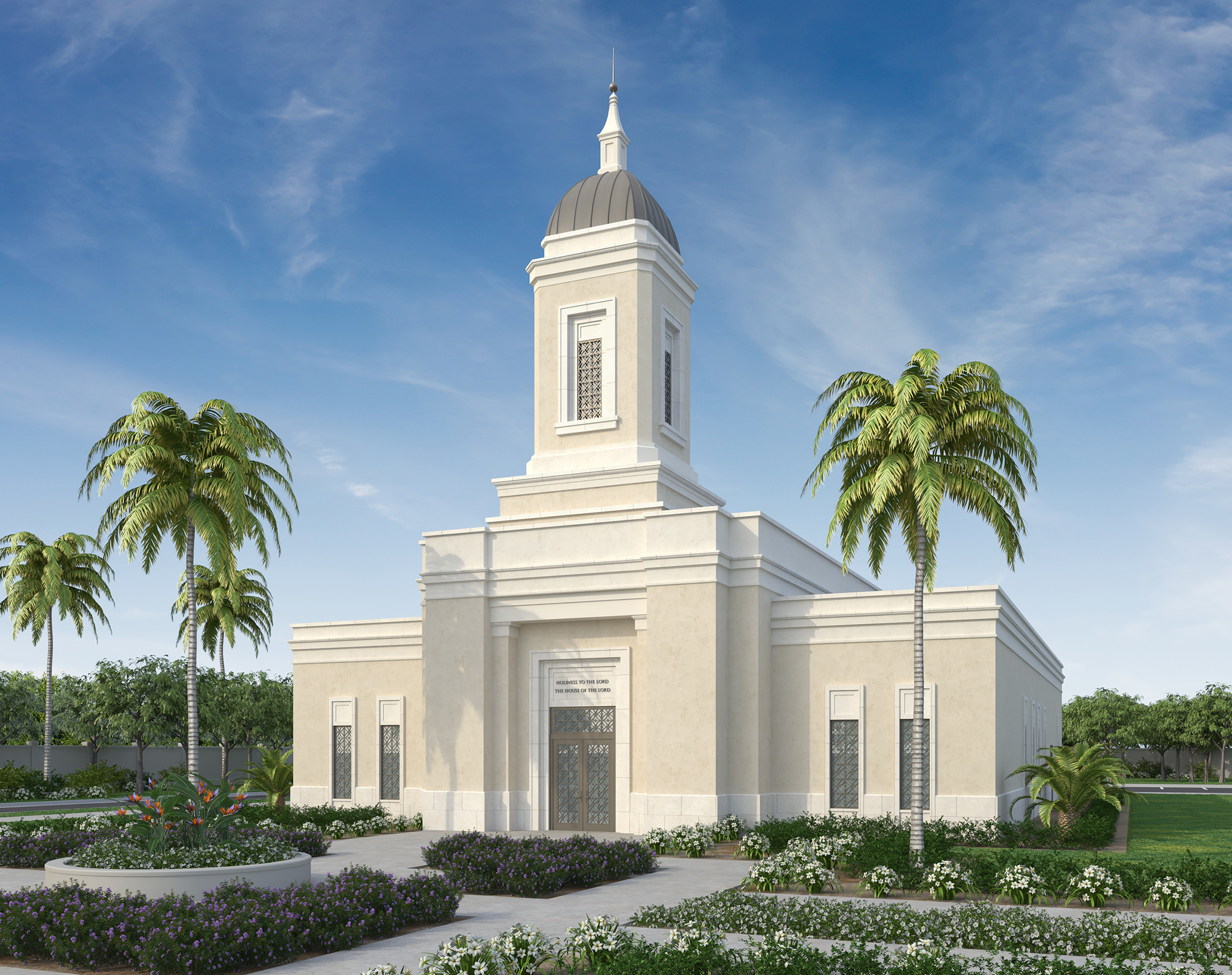 An artist rendering of the Yigo Guam Temple.