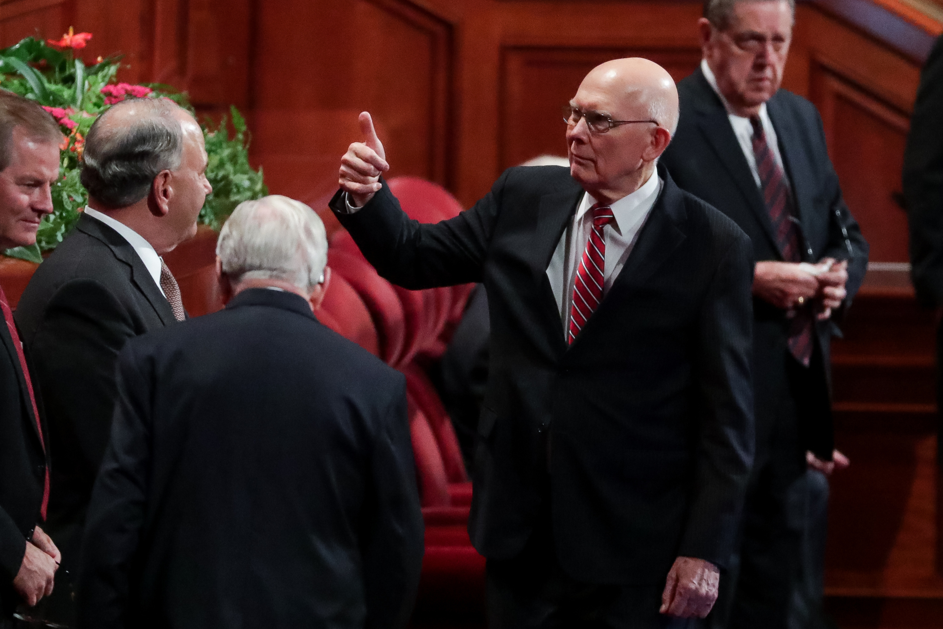 President Dallin H. Oaks, first counselor in the First Presidency, flashes a thumbs-up before the start of the Saturday morning session of the 188th Semiannual General Conference of The Church of Jesus Christ of Latter-day Saints in the Conference Center in Salt Lake City on Saturday, Oct. 6, 2018.