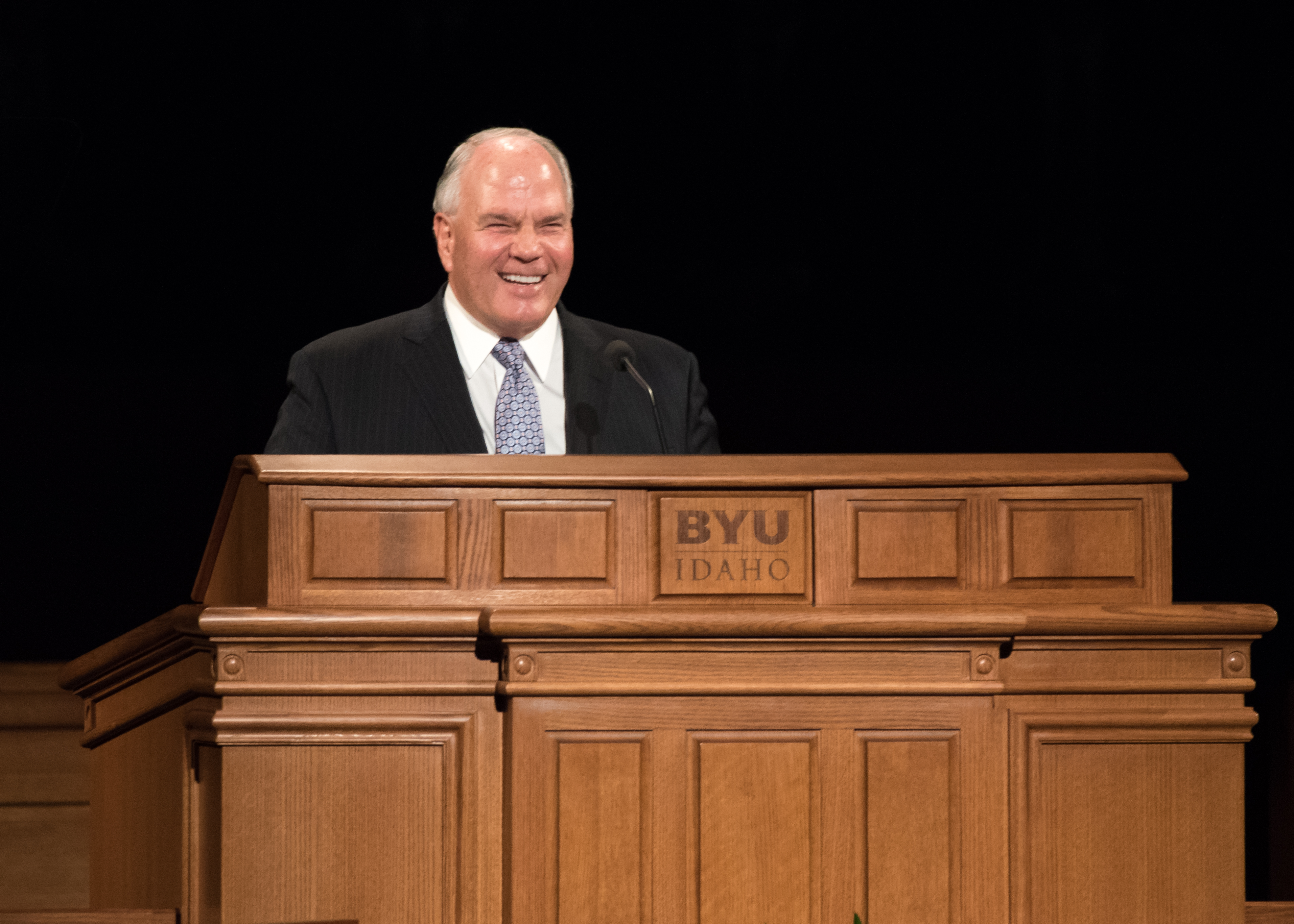 Elder Ronald A. Rasband of the Quorum of the Twelve Apostles speaks during a devotional held in the BYU-Idaho Center on April 28, 2019.