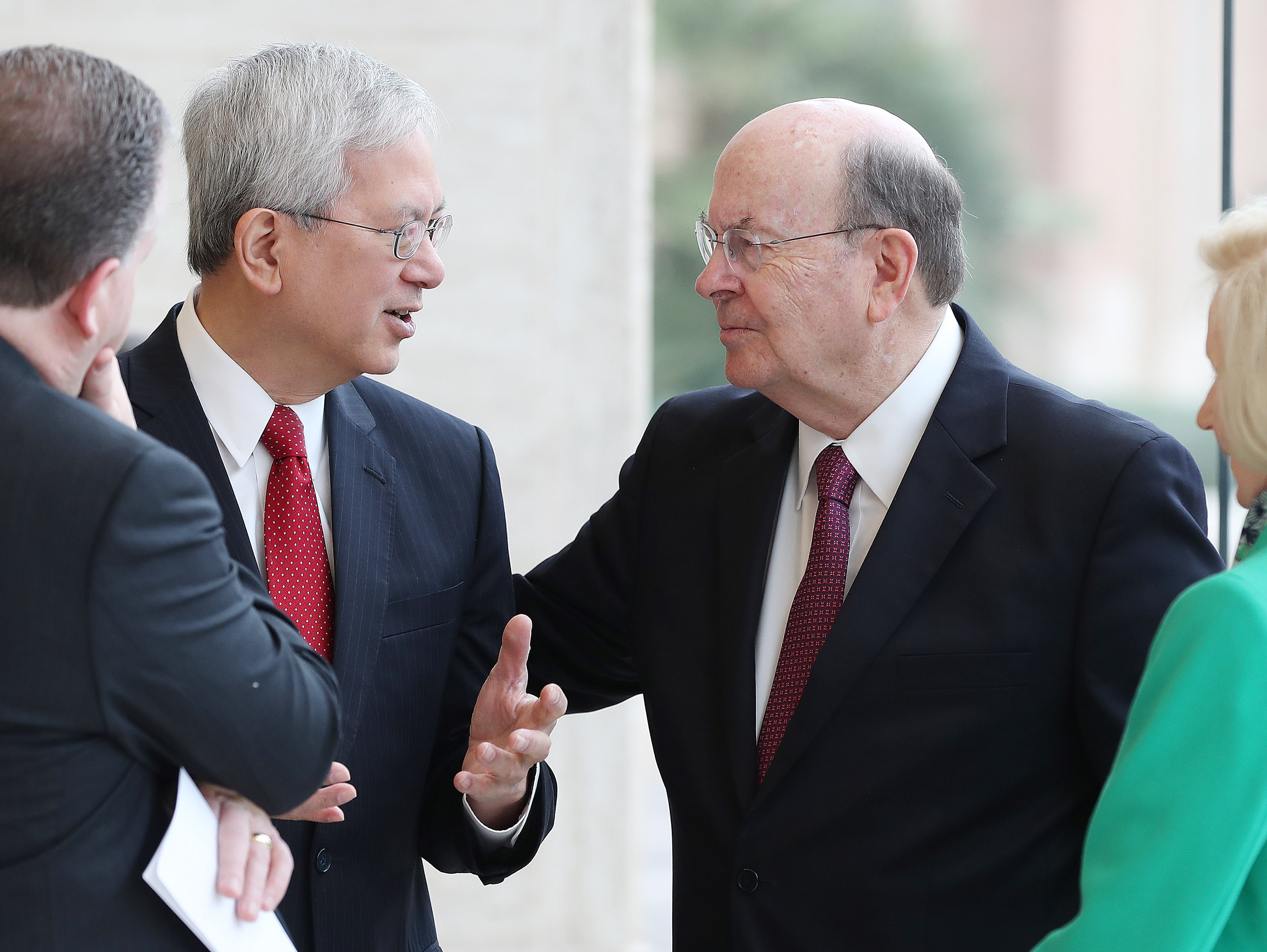 Elder Gerrit W. Gong and Elder Quentin L. Cook of the Quorum of the Twelve Apostles of The Church of Jesus Christ of Latter-day Saints, talk in the Rome Italy Temple visitors' center in Rome, Italy on Monday, March 11, 2019.