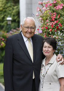 Elder L. Tom Perry of the Quorum of the Twelve and his wife, Sister Barbara Perry, pose for a portrait prior to his 90th birthday.
