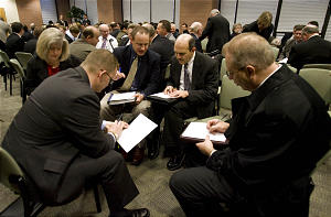 Job-hunting professionals come to LDS Business College each Monday morning to the LDS Church-sponsored professional placement program. The Church's Employment Services have teamed with LDS Business College to provide training, networking, and interview opportunities. Attendance that averaged 50-60 attendees a year ago has soared to 120+ weekly as the jobless rate climbs. Monday, Feb. 9, 2009 Scott G. Winterton, Deseret News