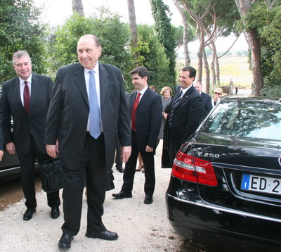 President Thomas S. Monson arrives at the Rome Italy Temple site for the groundbreaking ceremony.