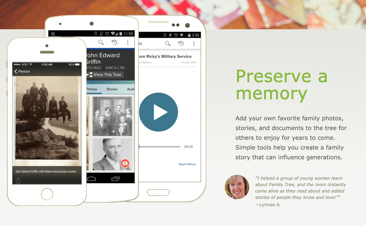 Preserving a memory is one of the features on the FamilySearch Tree mobile app.