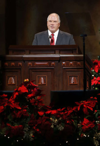 Elder Ronald A. Rasband speaks during the Christmas Devotional in the Conference Center in Salt Lake City Sunday, Dec. 8, 2013.