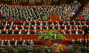President Dieter F. Uchtdorf leads congregation in sustaining of 12 new members of the Seventy.