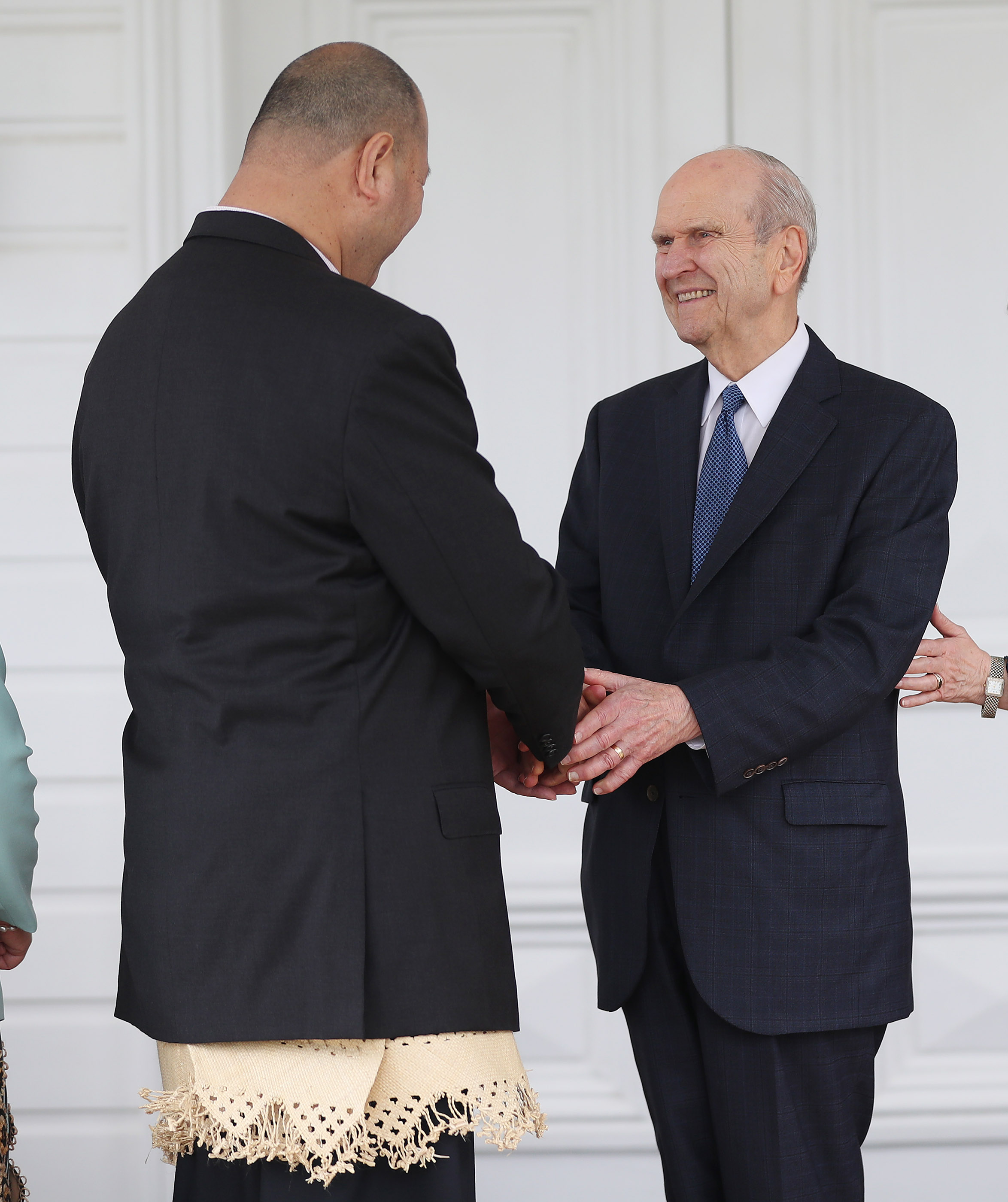 President Russell M. Nelson of The Church of Jesus Christ of Latter-day Saints meets with His Majesty King Tupou VI, King of Tonga, at the Royal Palace in Tonga on May 23, 2019.