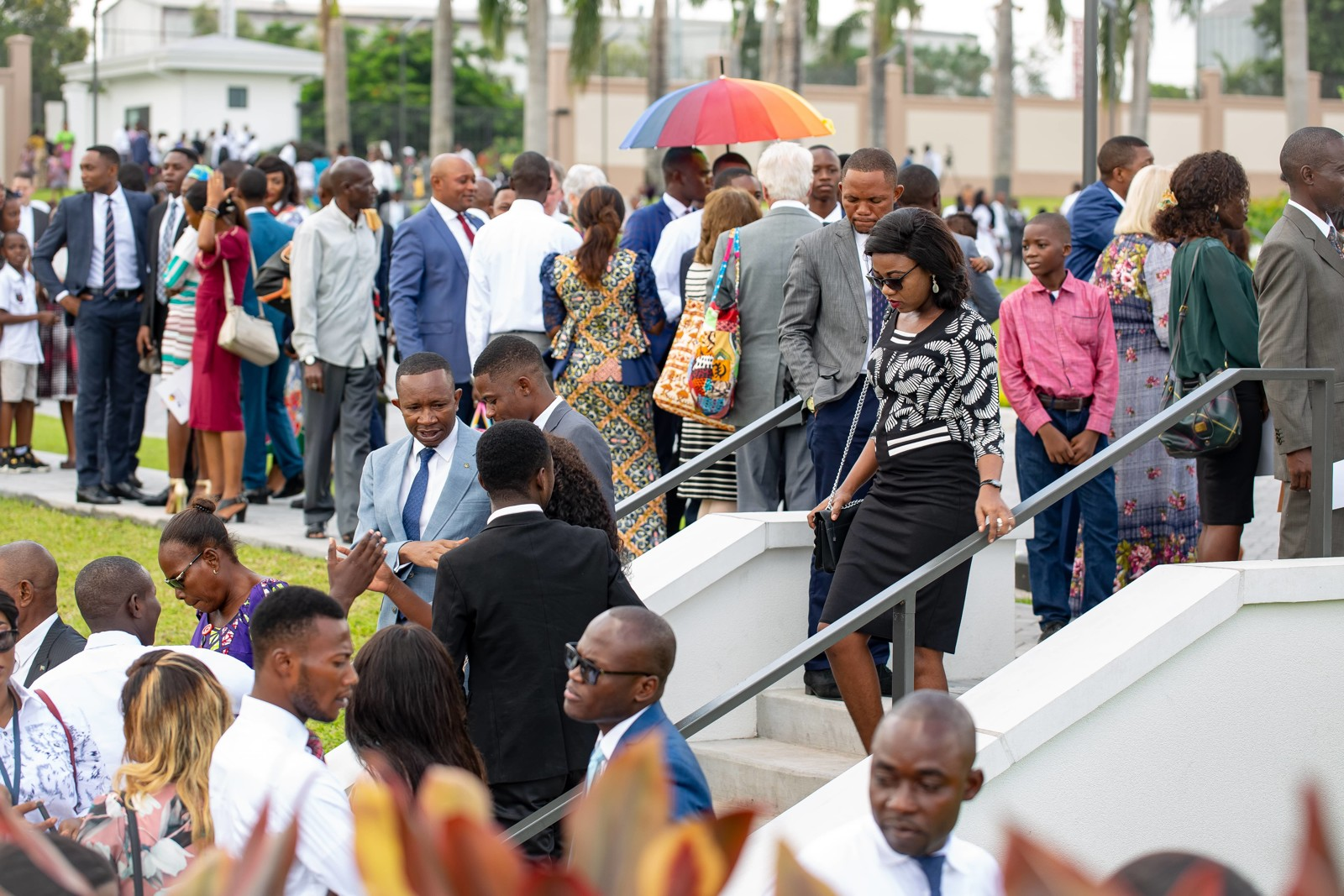 Latter-day Saints gathere outside the Kinshasa Democratic Republic of the Congo Temple on its dedication day, Sunday, April 14, 2019.